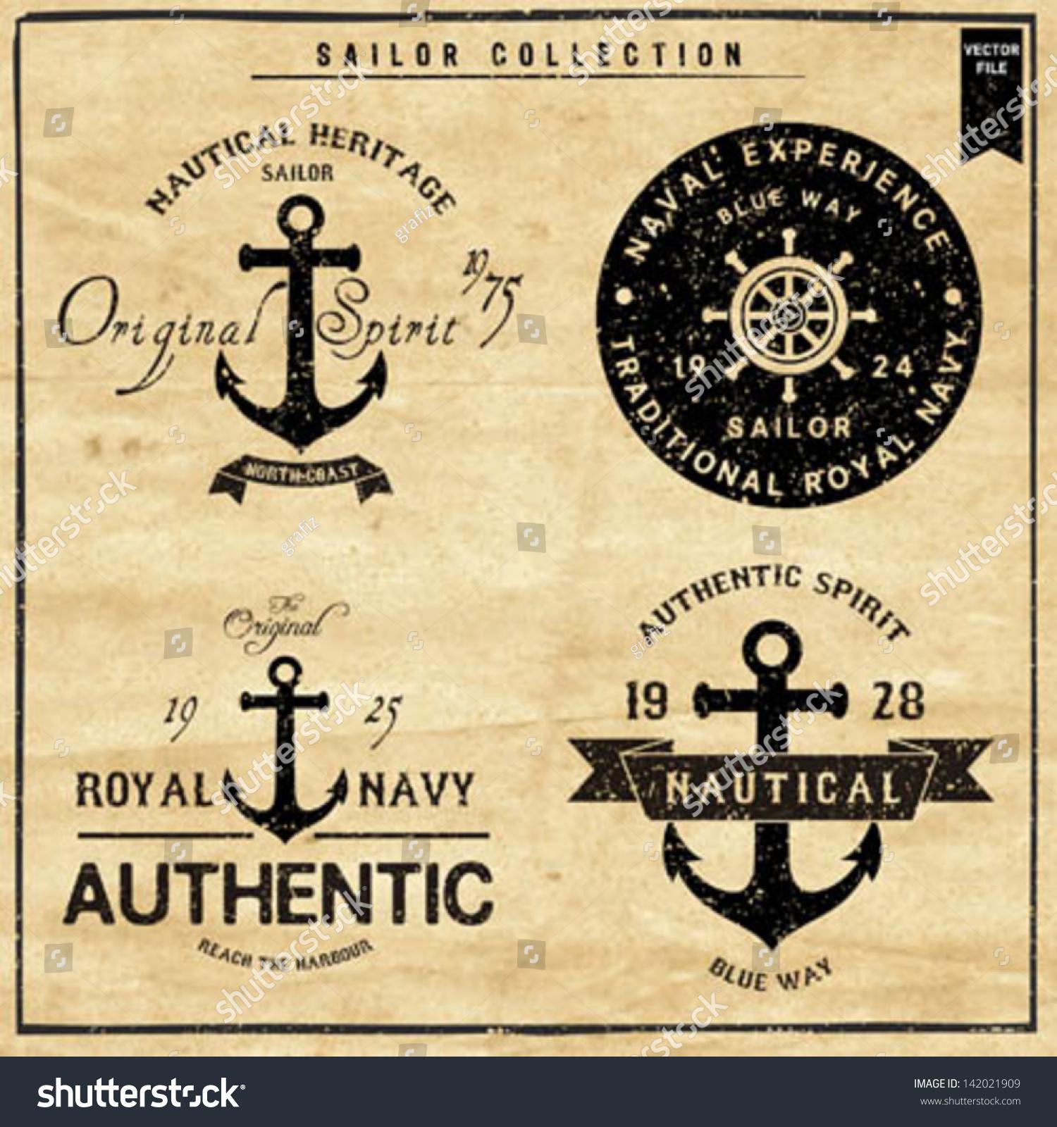 Shirt design vector pack - Nautical Design Sailor Vector Set Hand Drawing T Shirt Printing Badge