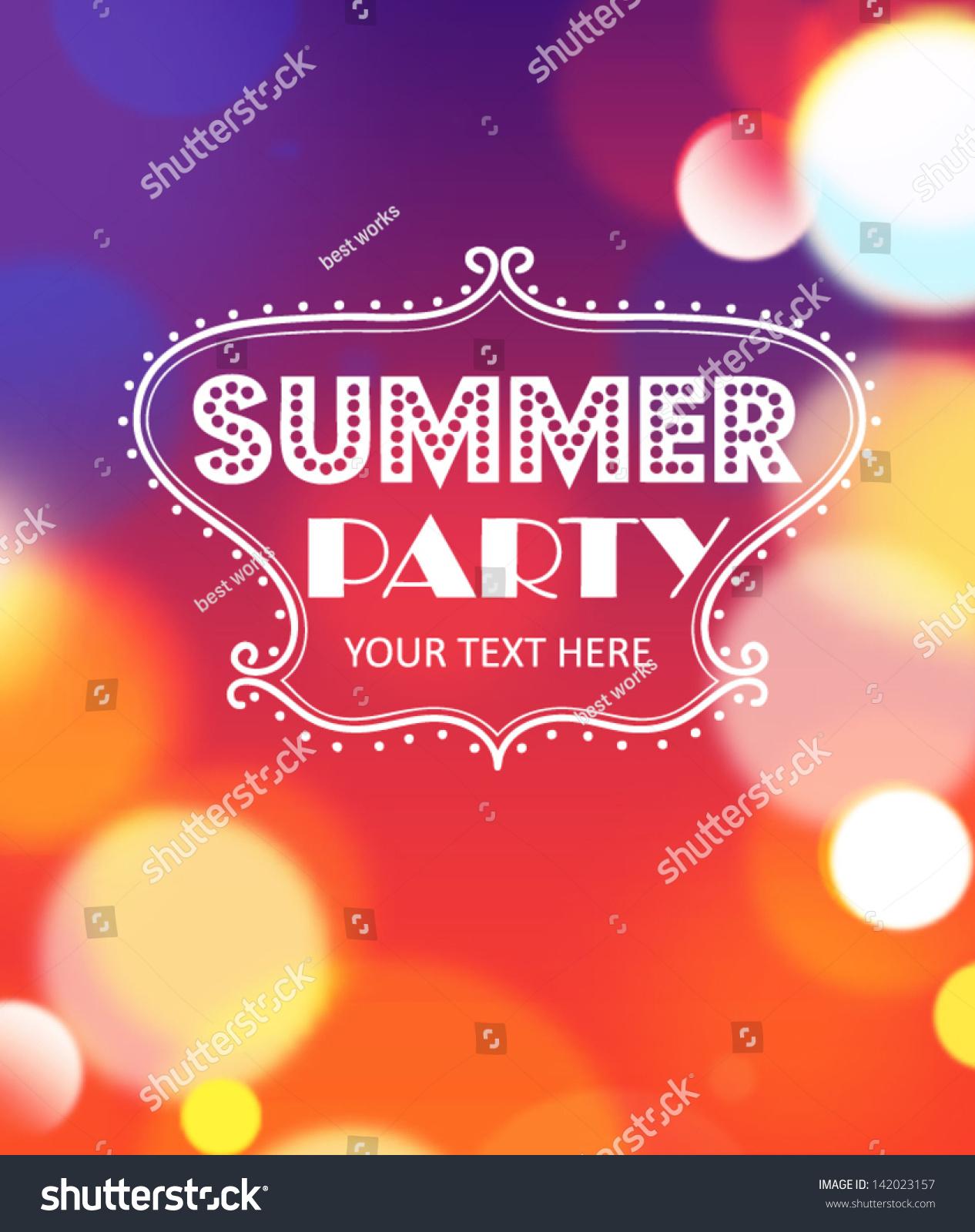 Summer Party Poster Vector 142023157 Shutterstock