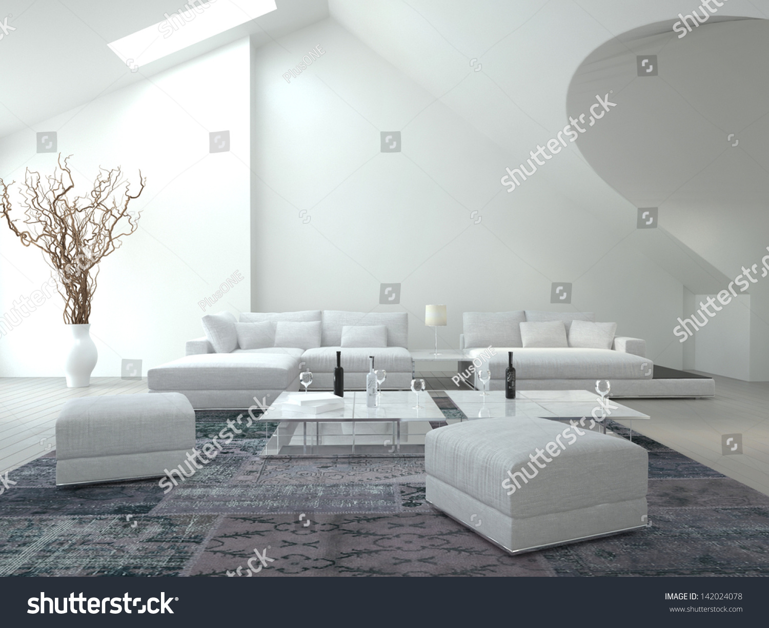 Awesome White Living Room Interior Architecture Stock Photo & Image ...