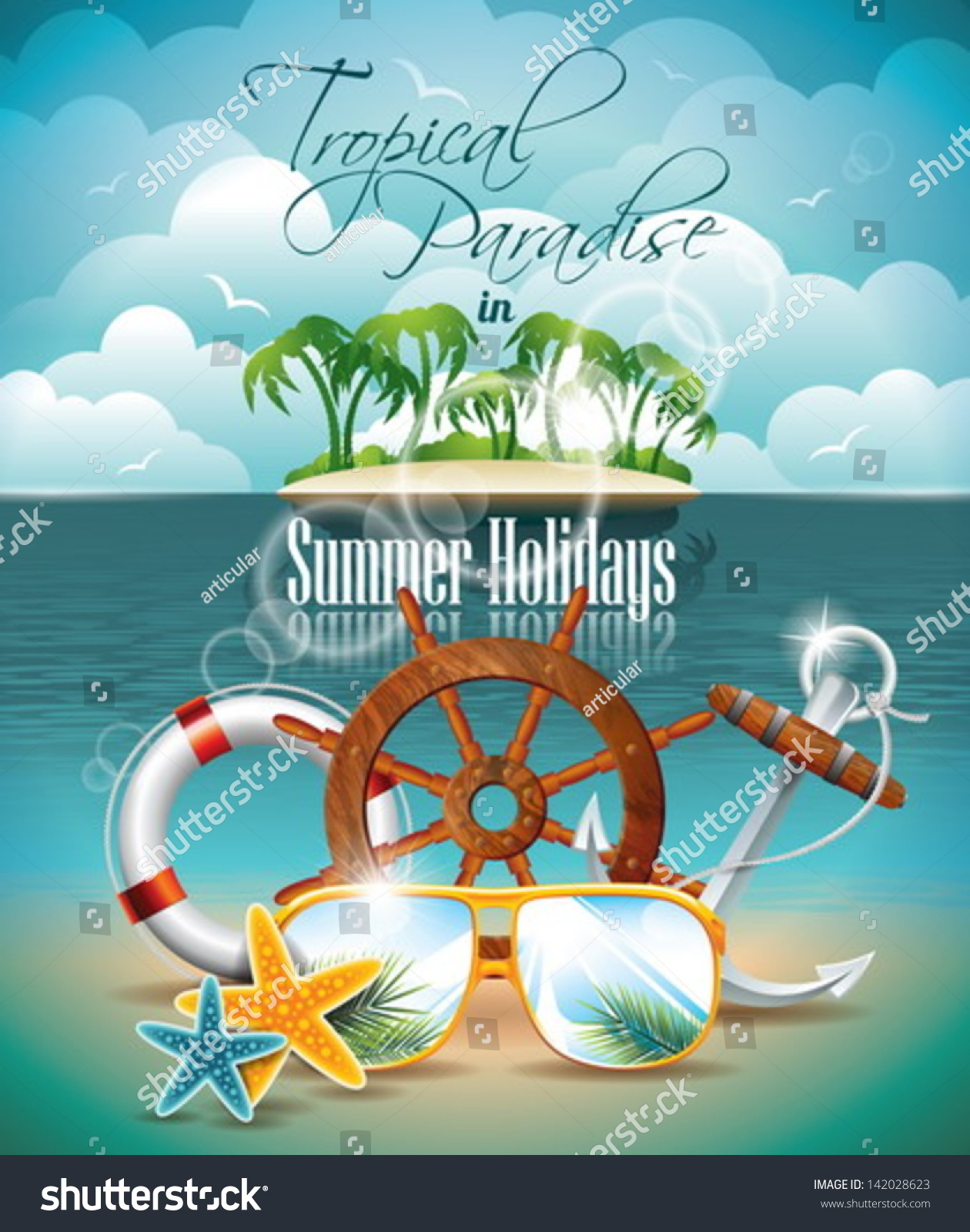 vector summer holiday flyer design palm stock vector  vector summer holiday flyer design palm trees and shipping elements on tropical background eps10