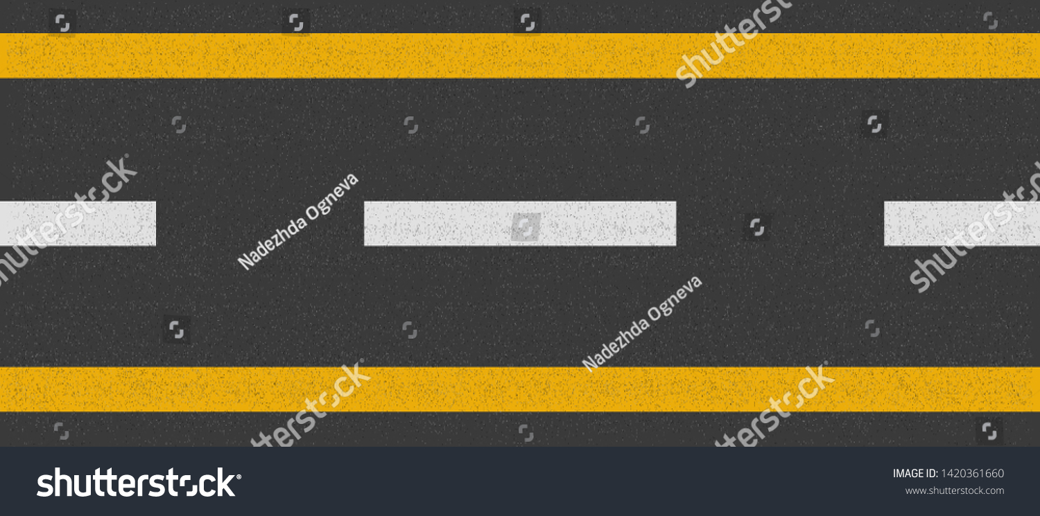 Asphalt road top view, seamless highway line texture marks, road yellow and white dotted marking, vector illustration