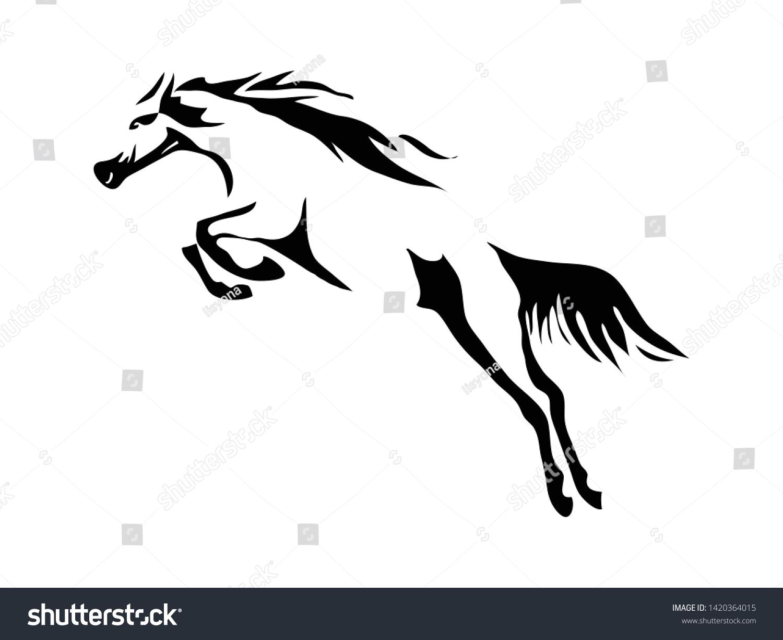Black White Jumping Horse Tattoo Logo Stock Vector Royalty Free 1420364015