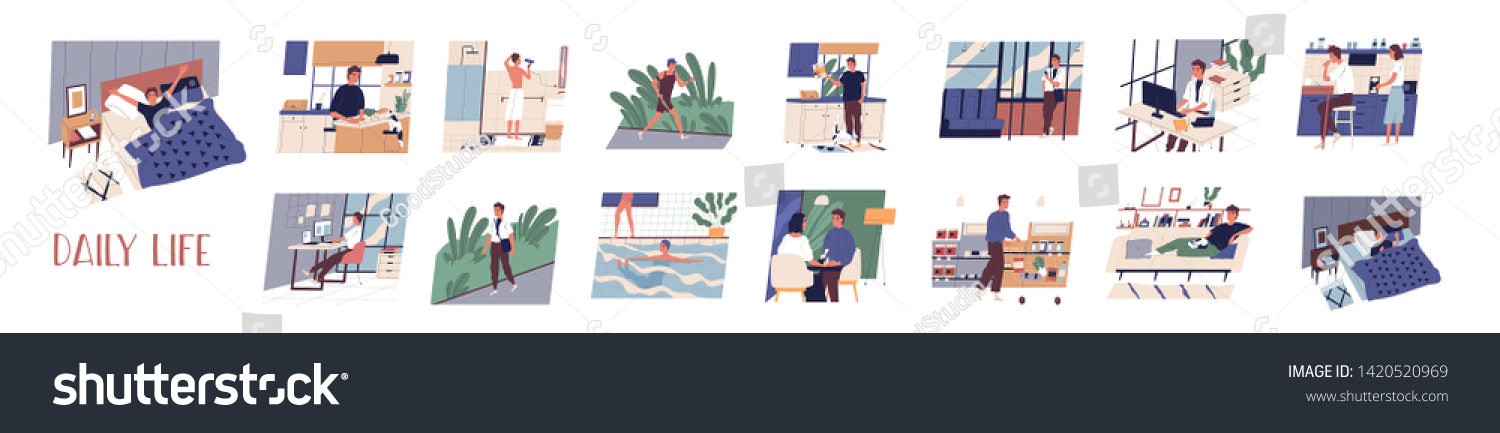 Bundle of daily leisure and work activities performing by young man. Set of everyday routine scenes. Guy sleeping, working, jogging, grocery shopping, relaxing. Flat cartoon vector illustration.