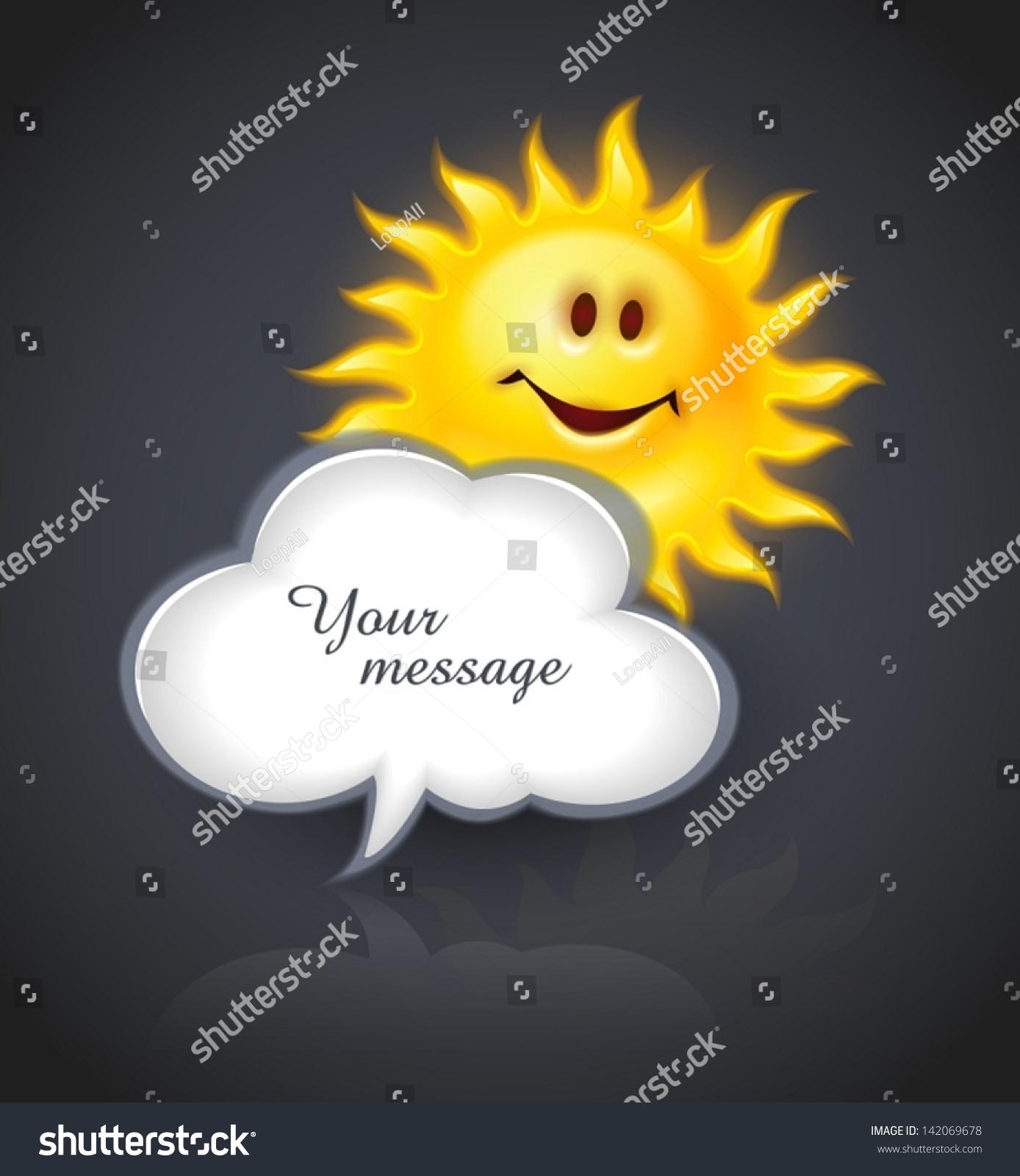 Smiling yellow sun cloud symbol text stock vector 142069678 smiling yellow sun and cloud symbol for text message eps10 vector illustration biocorpaavc Gallery