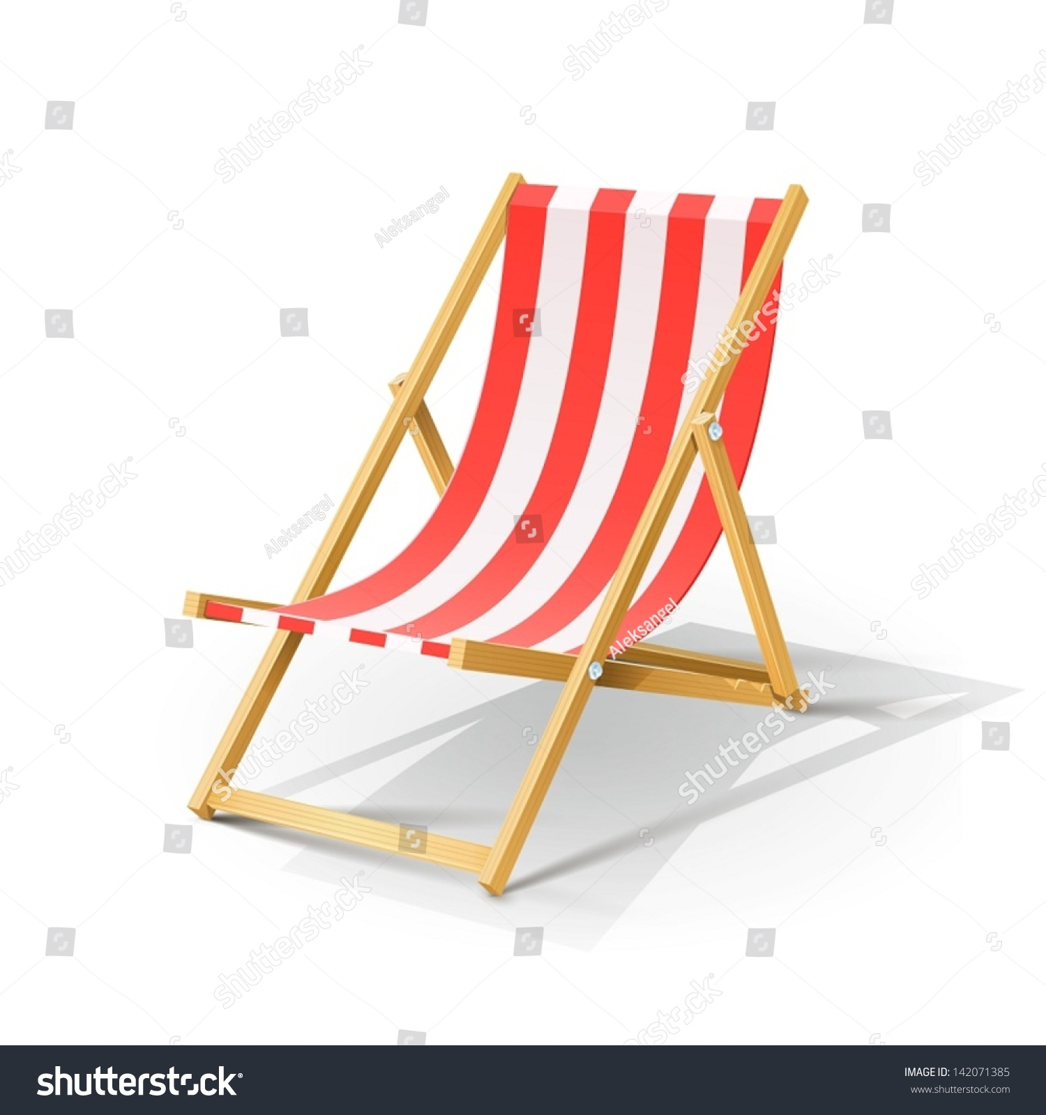 Wooden beach chaise longue vector illustration stock for Beach chaise longue