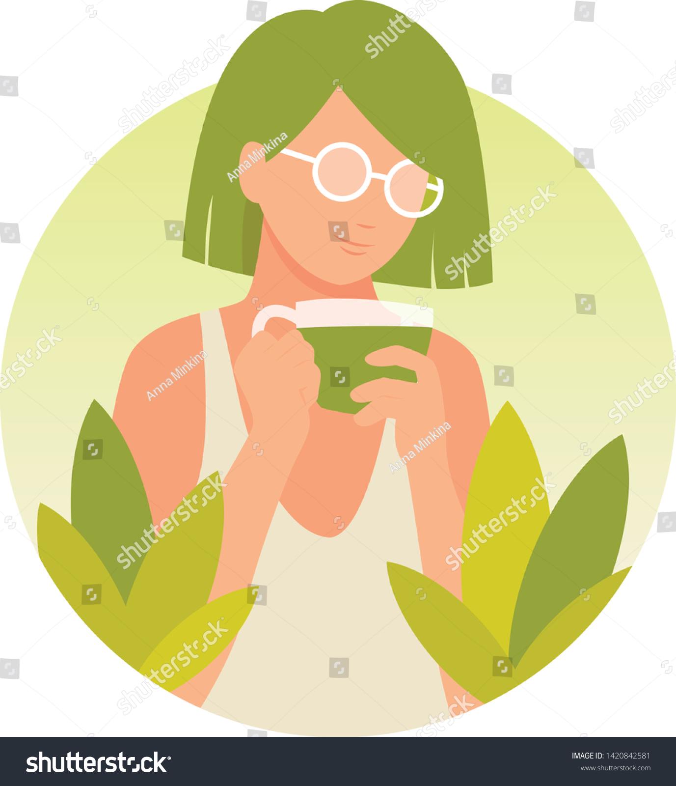 girl drinking matcha tea vector illustration stock vector royalty free 1420842581 https www shutterstock com image vector girl drinking matcha tea vector illustration 1420842581