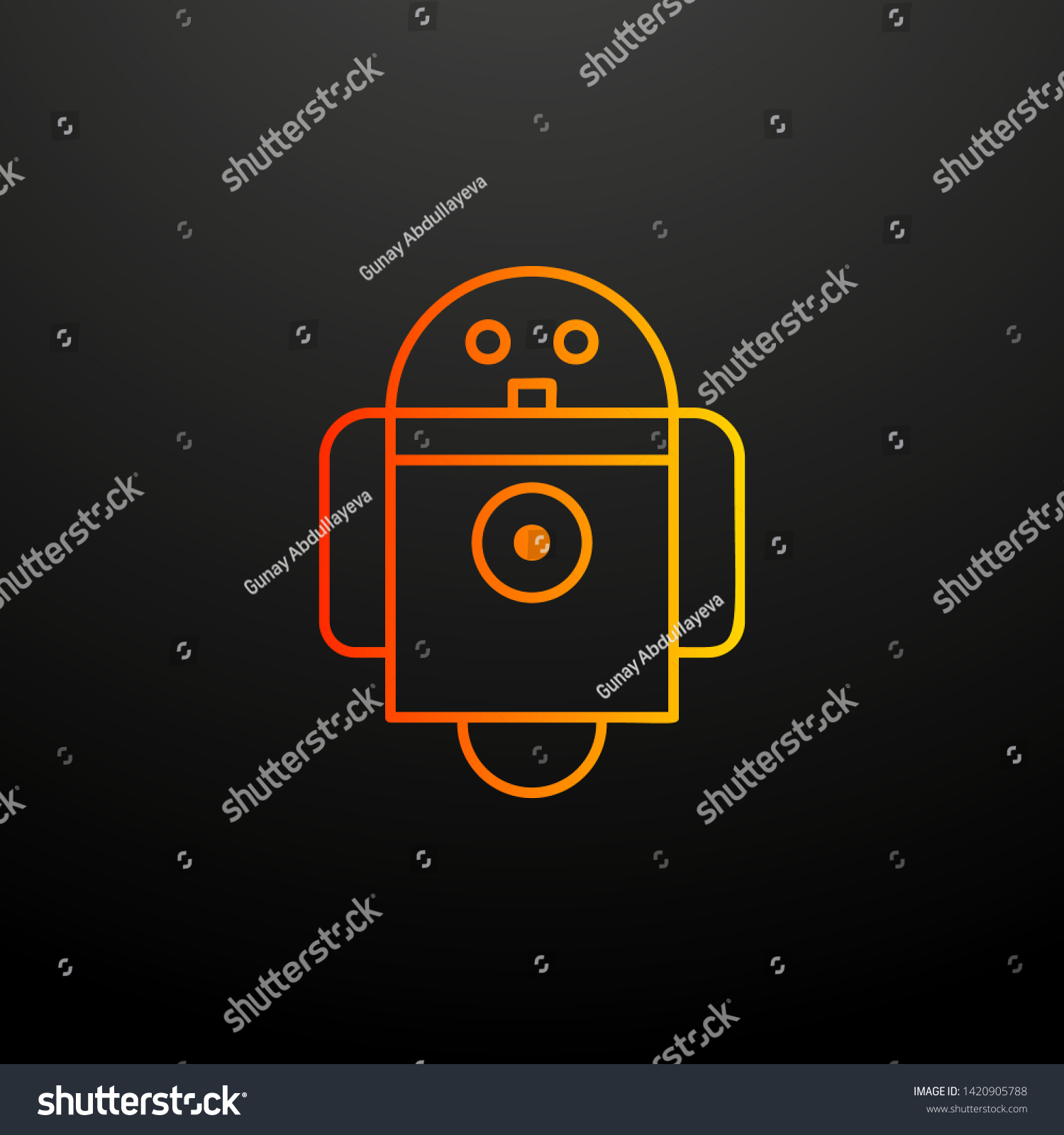 Robot Nolan Icon Elements Automation Set Stock Vector