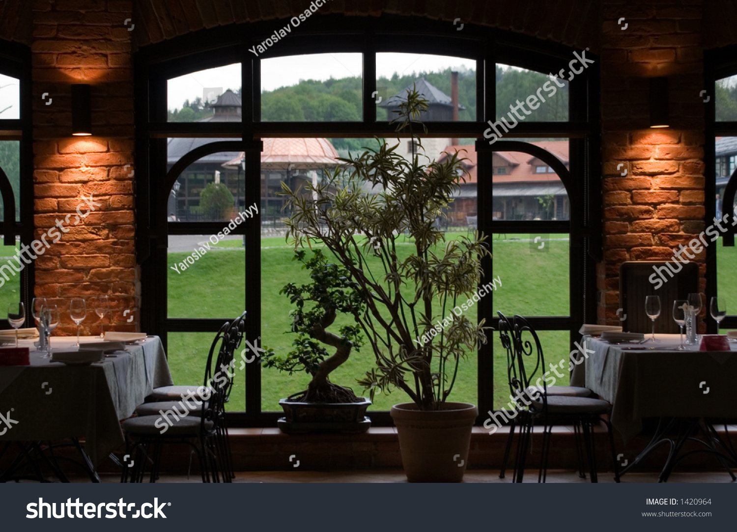 Nice restaurant interior look window stock photo