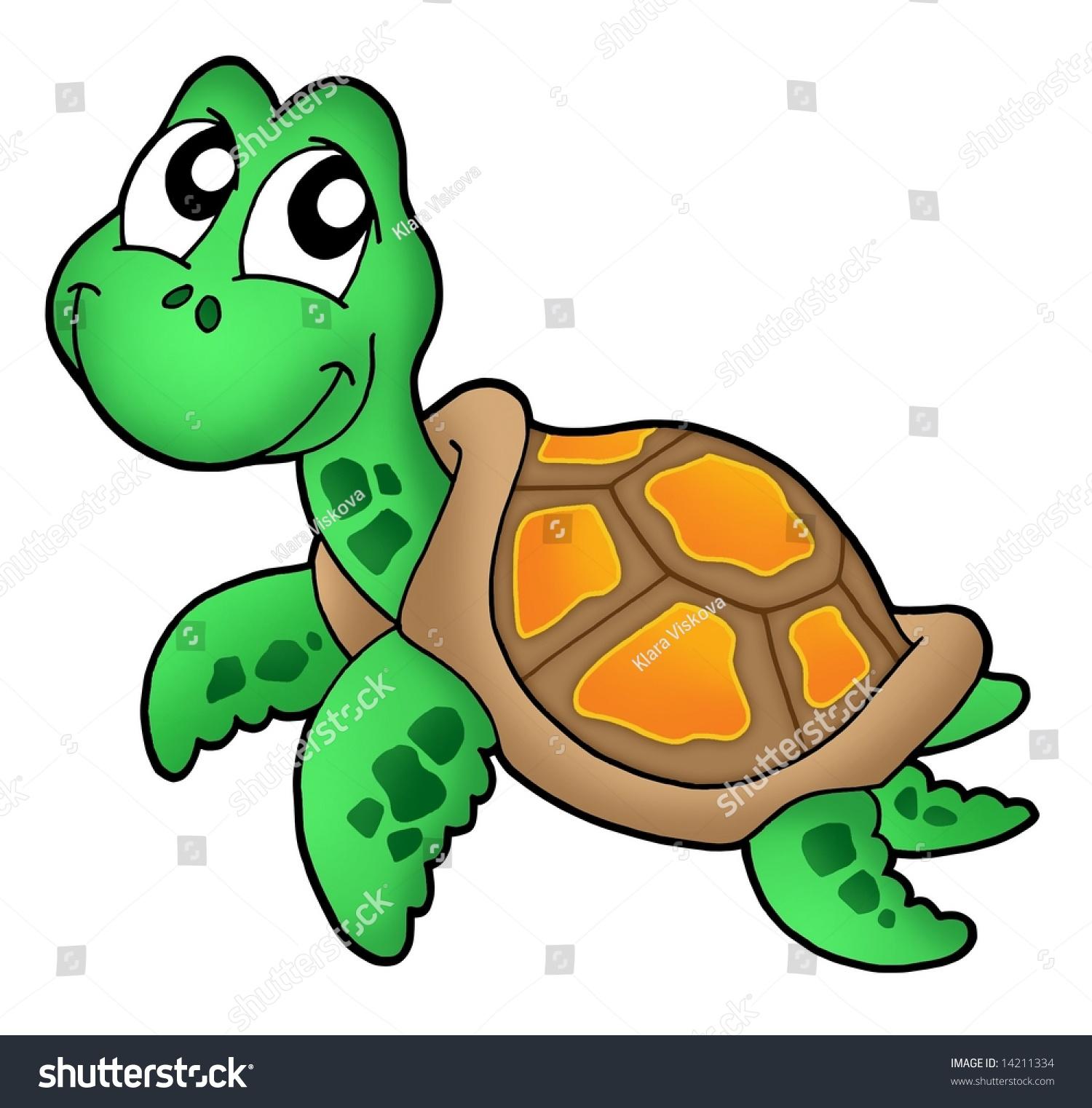 Little Sea Turtle Color Illustration Stock Illustration 14211334 ...