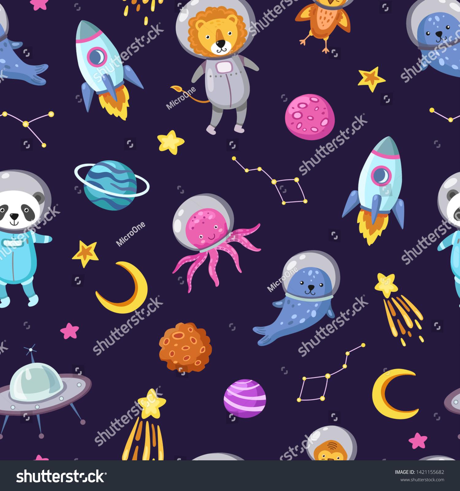 宇宙動物の柄 かわいい動物の赤ちゃんは 飛ぶ子ペットのコスモナウト