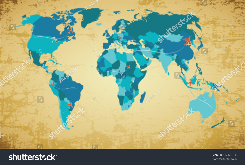 editable map of world