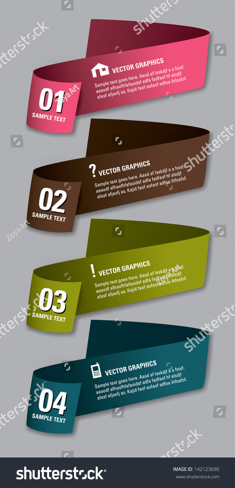 Vector Numbered Banners Modern Graphic Website Stock Vector ...