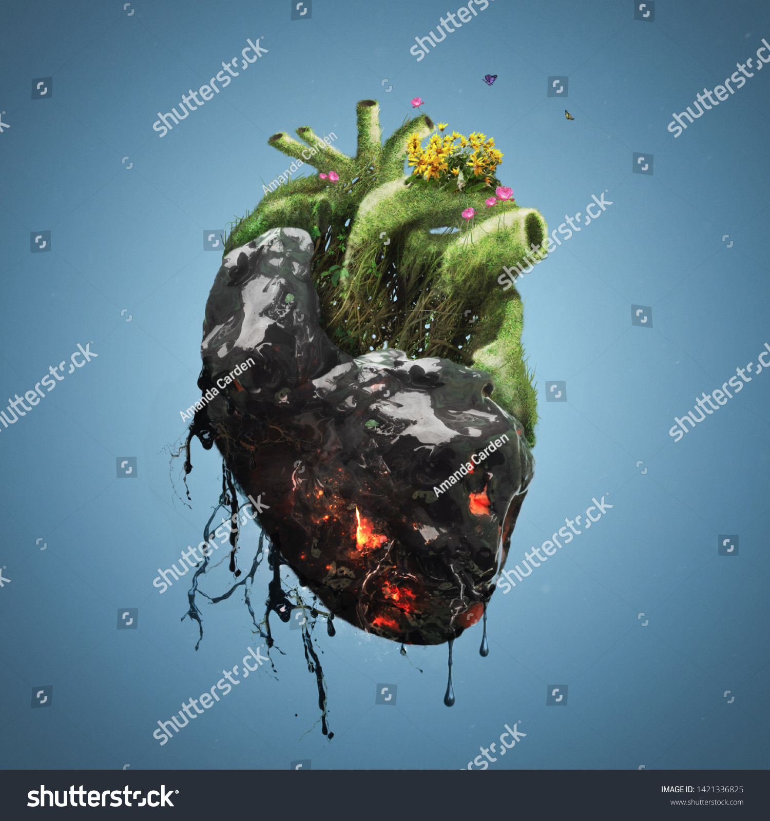 Human Heart Covered Tar Death On Stock Photo (Edit Now) 1421336825