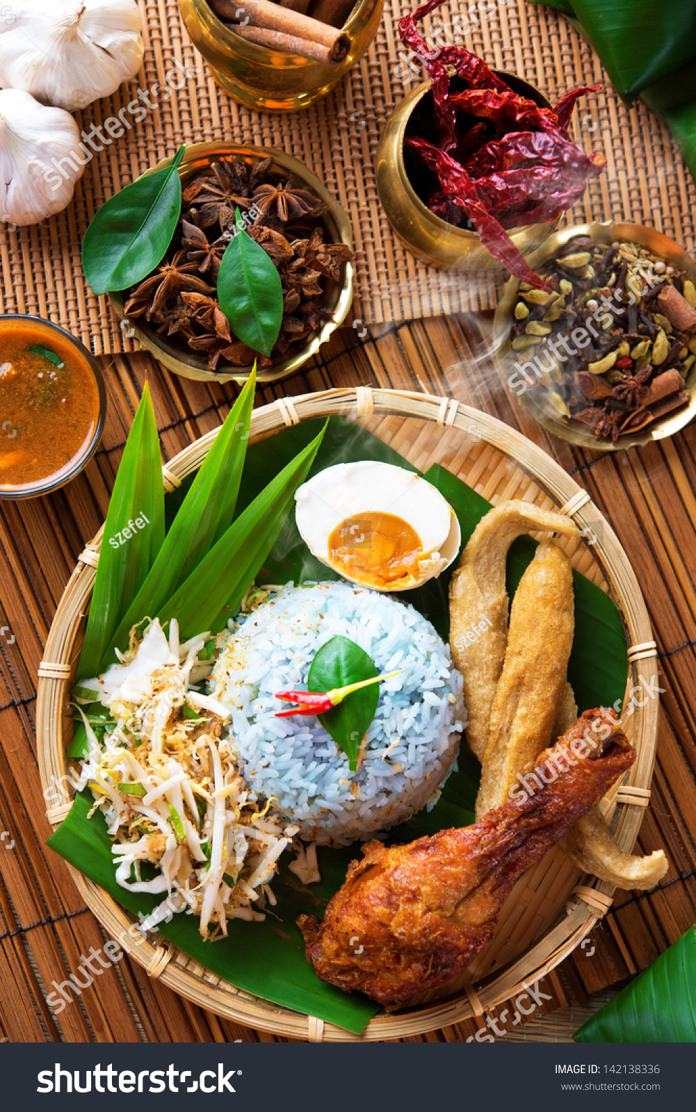 Traditional malaysian food asian cuisine nasi kerabu is for Authentic malaysian cuisine