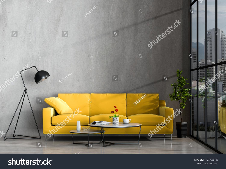 Interior Living Room Wall Concrete Sofa ...