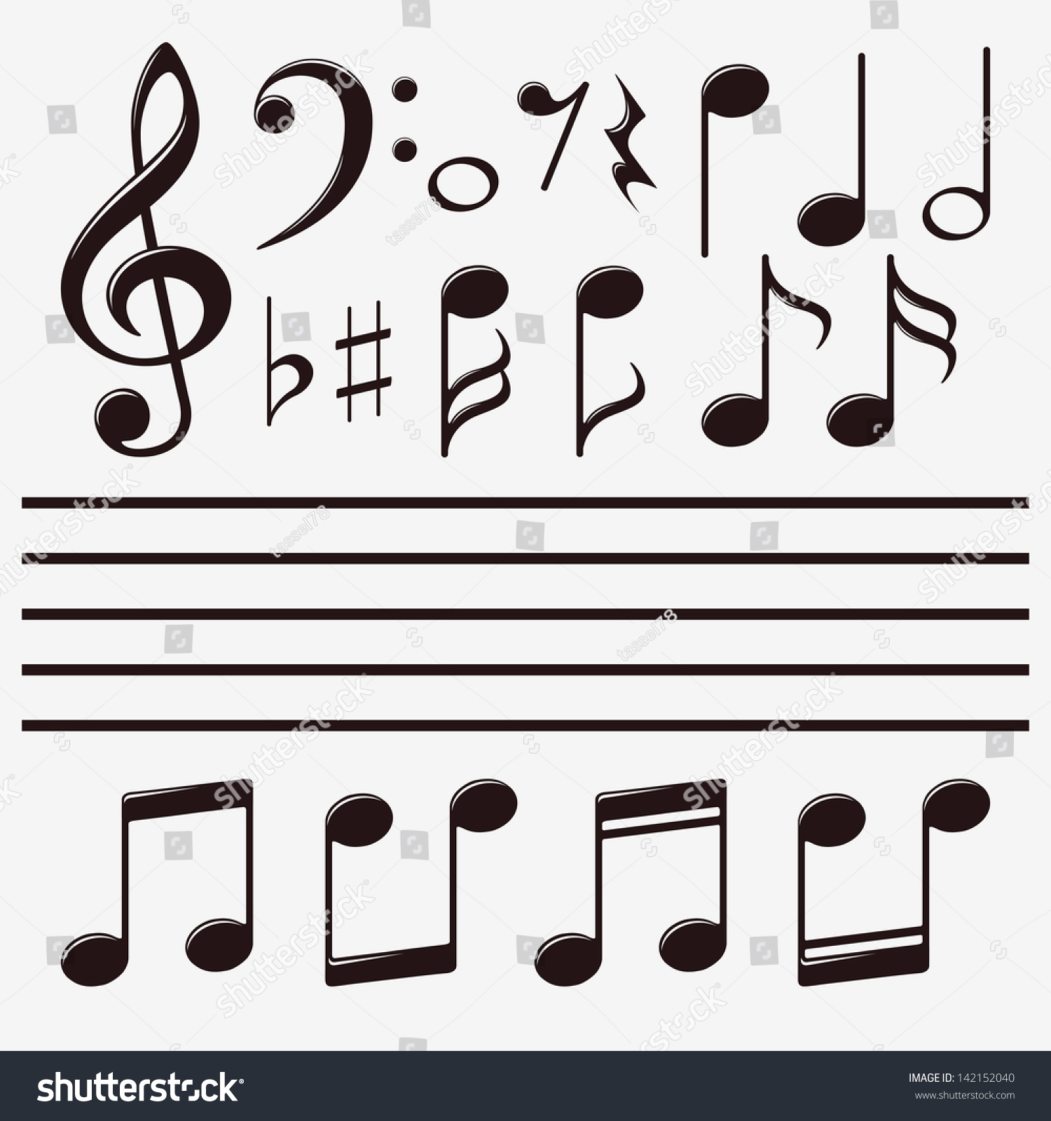 Musical notes staff background on white vector by tassel78 image - Vector Icons Set Music Note