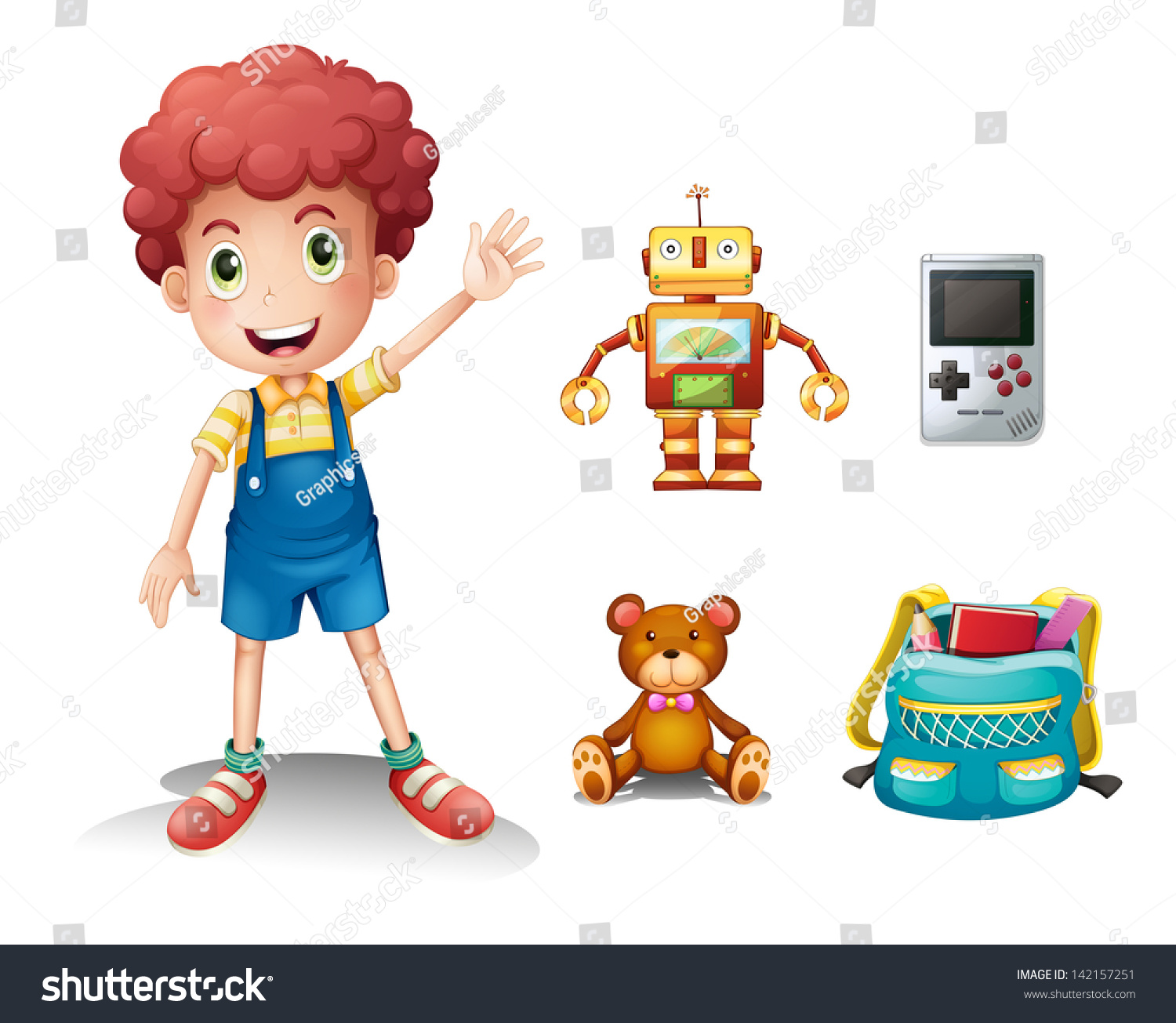 White Boys Toys : Illustration of a young boy and his toys on white