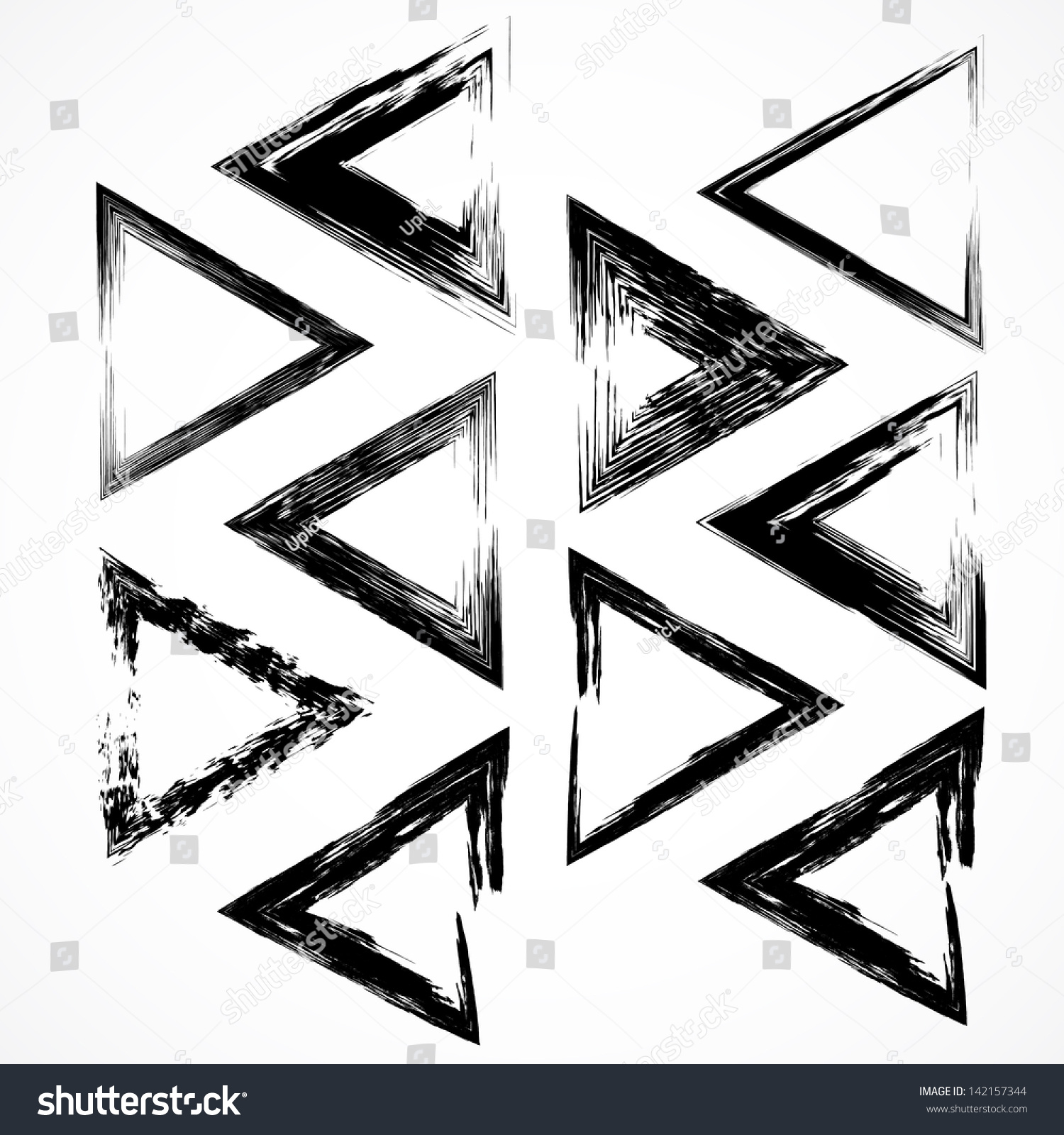 Vector Set Grunge Triangle Brush Strokes Stock Vector 142157344 ...