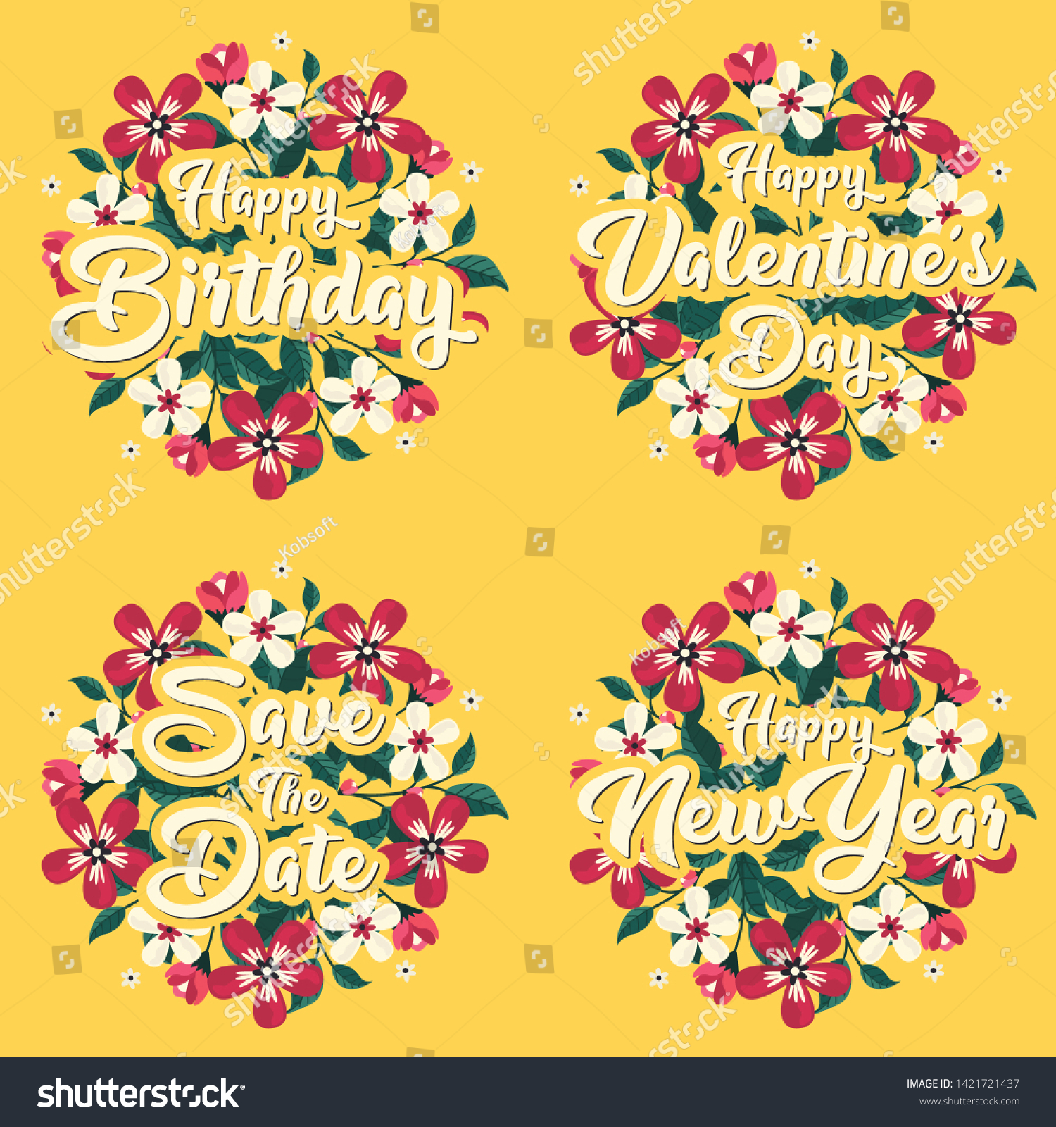 Greeting Card Message Template Happy Birthday Stock Vector Royalty Free 1421721437