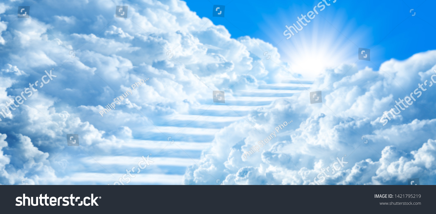 Stairway Curving Through Clouds Into The Light Of Heaven With Blue Sky #1421795219