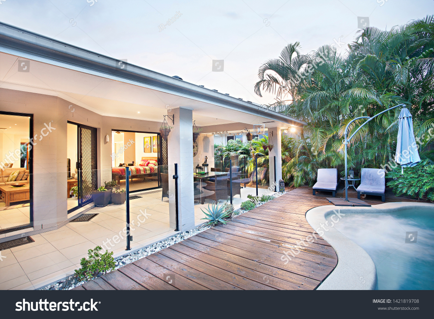 Garden With Swimming Pool house garden swimming pool plants natural stock photo (edit