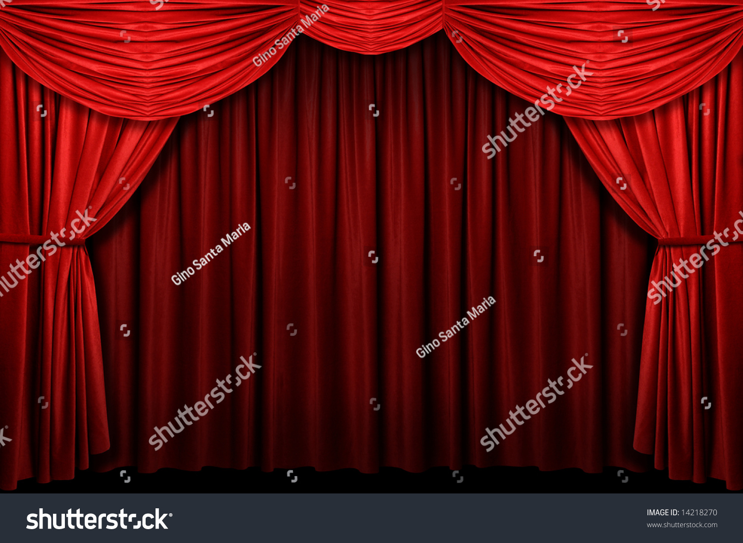 Red stage curtain with lights - Red Stage Curtain With Arch Entrance