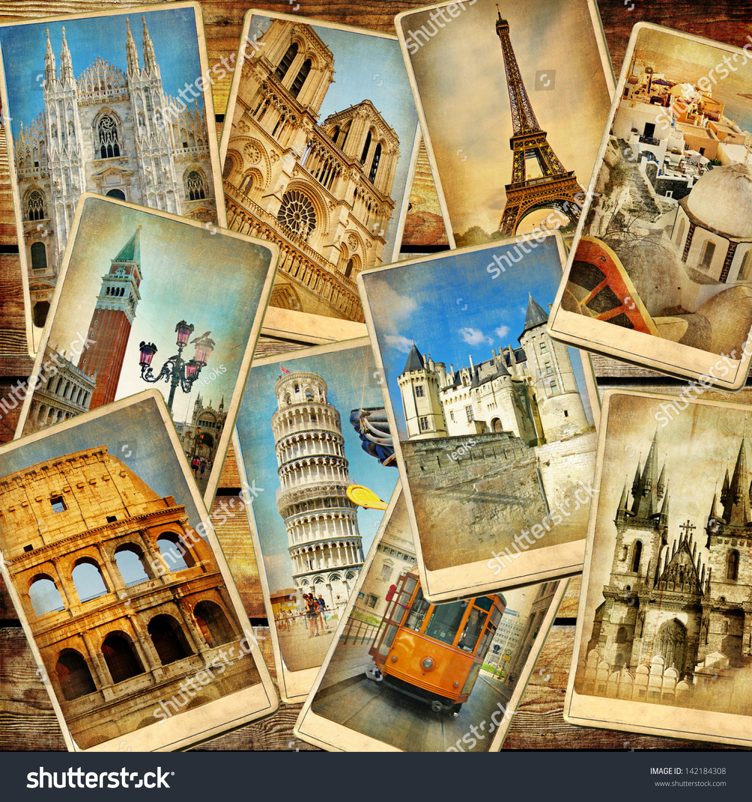 vintage collage european travel stock photo 142184308 shutterstock. Black Bedroom Furniture Sets. Home Design Ideas