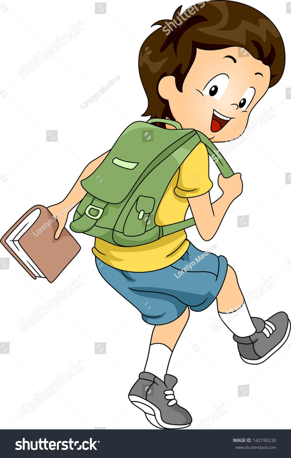 sideview illustration little kid boy student stock vector Cartoon School Backpack Teen Back to School No
