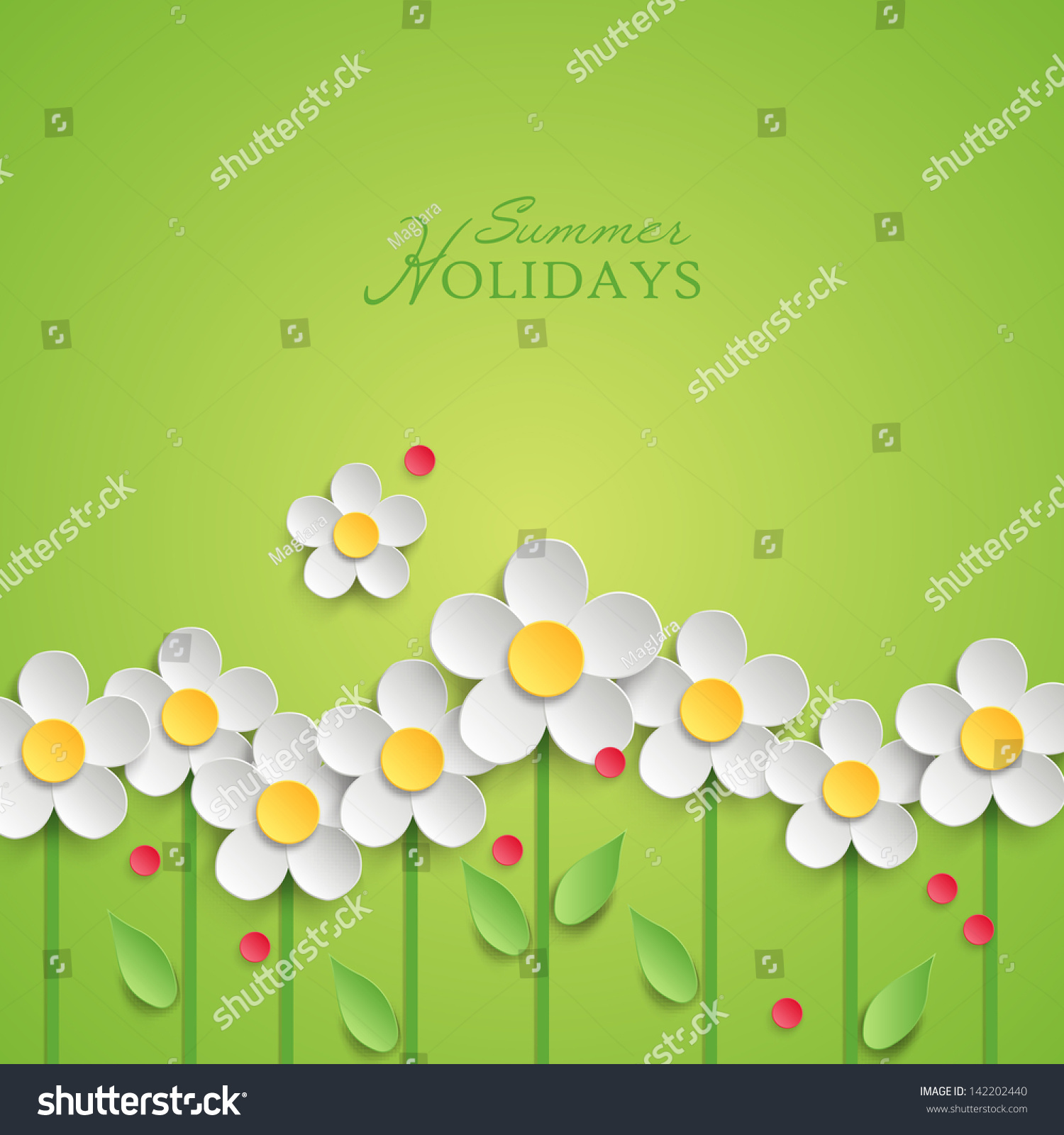 Summer Floral Background Paper Daisy Flowers Stock Vector Royalty