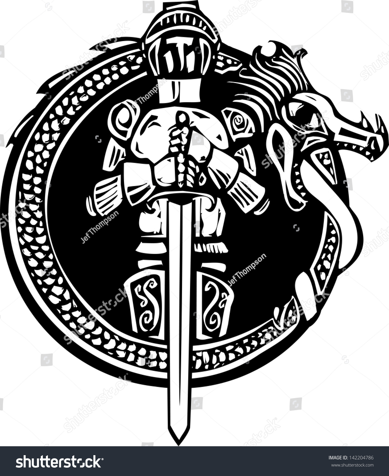 woodcut style medieval knight in a dragon circle stock