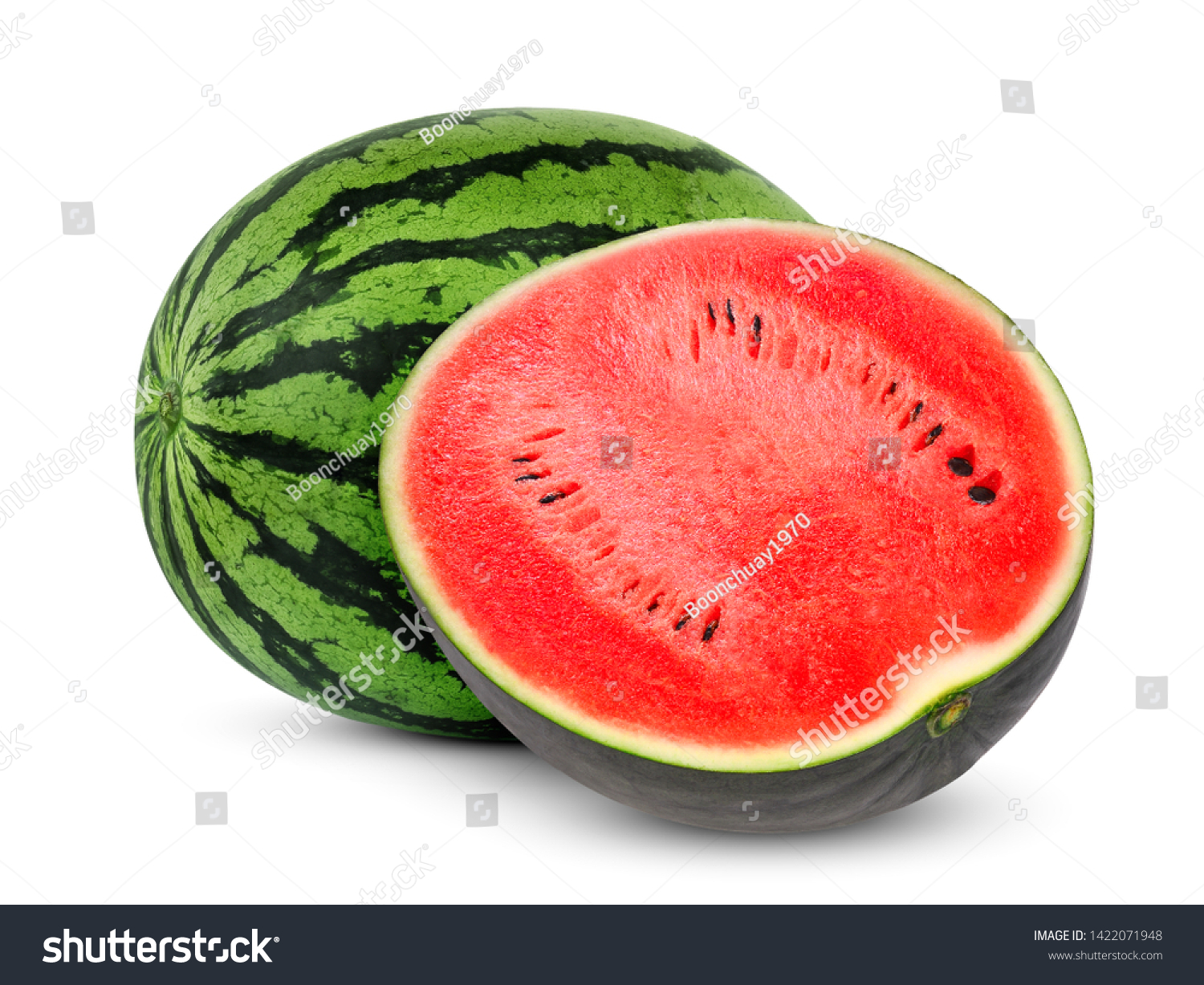 whole and half watermelon isolated on white background #1422071948