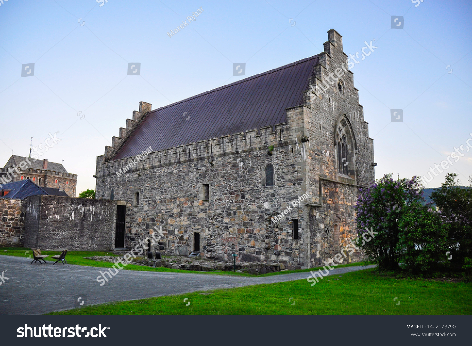 Haakon's Hall, a medieval stone hall located inside the fortress. Bergenhus fortress  is a fortress located in Bergen, Norway. Summer tourist place.