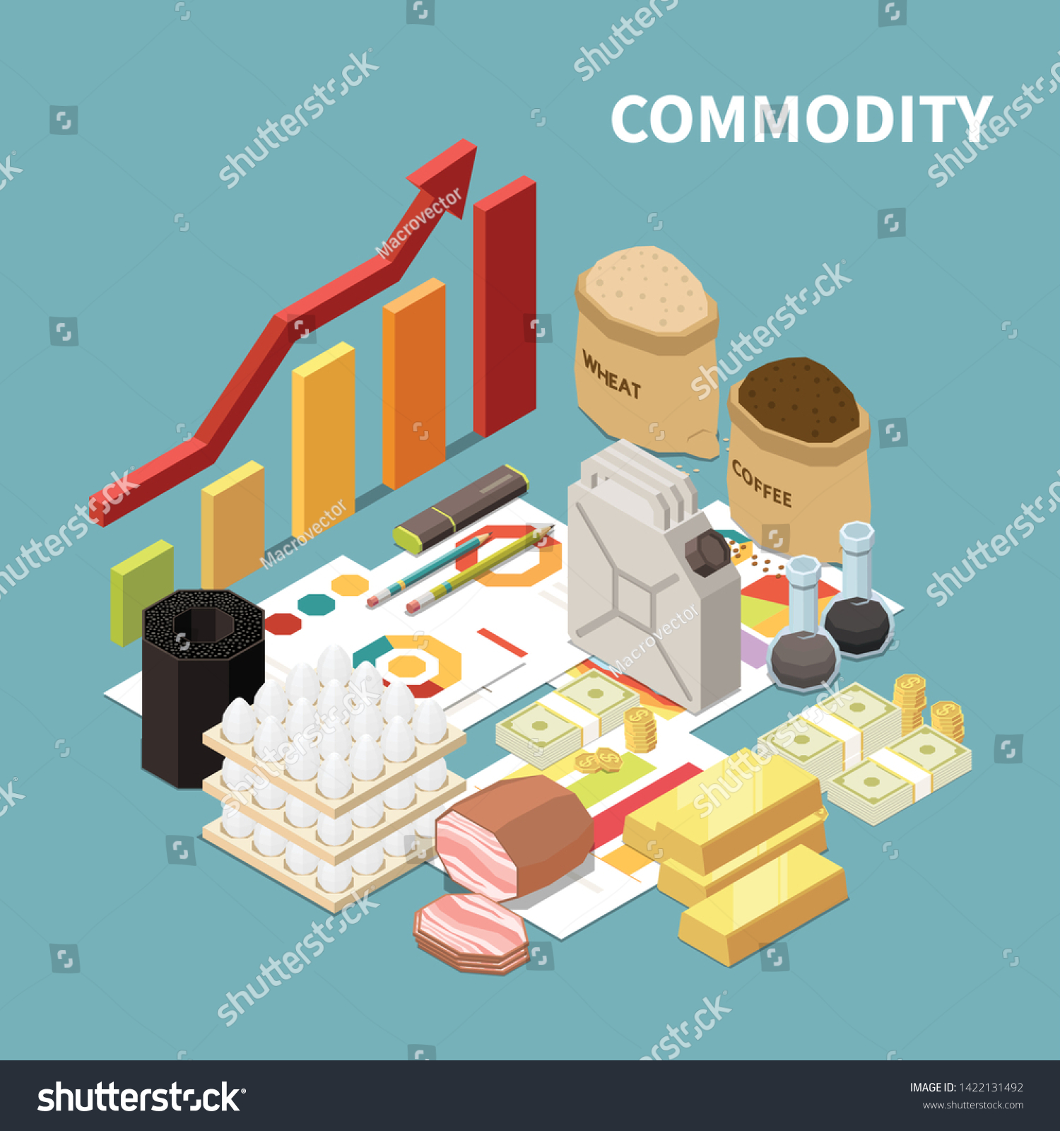 Commodity Isometric Composition Images Manufactured Goods
