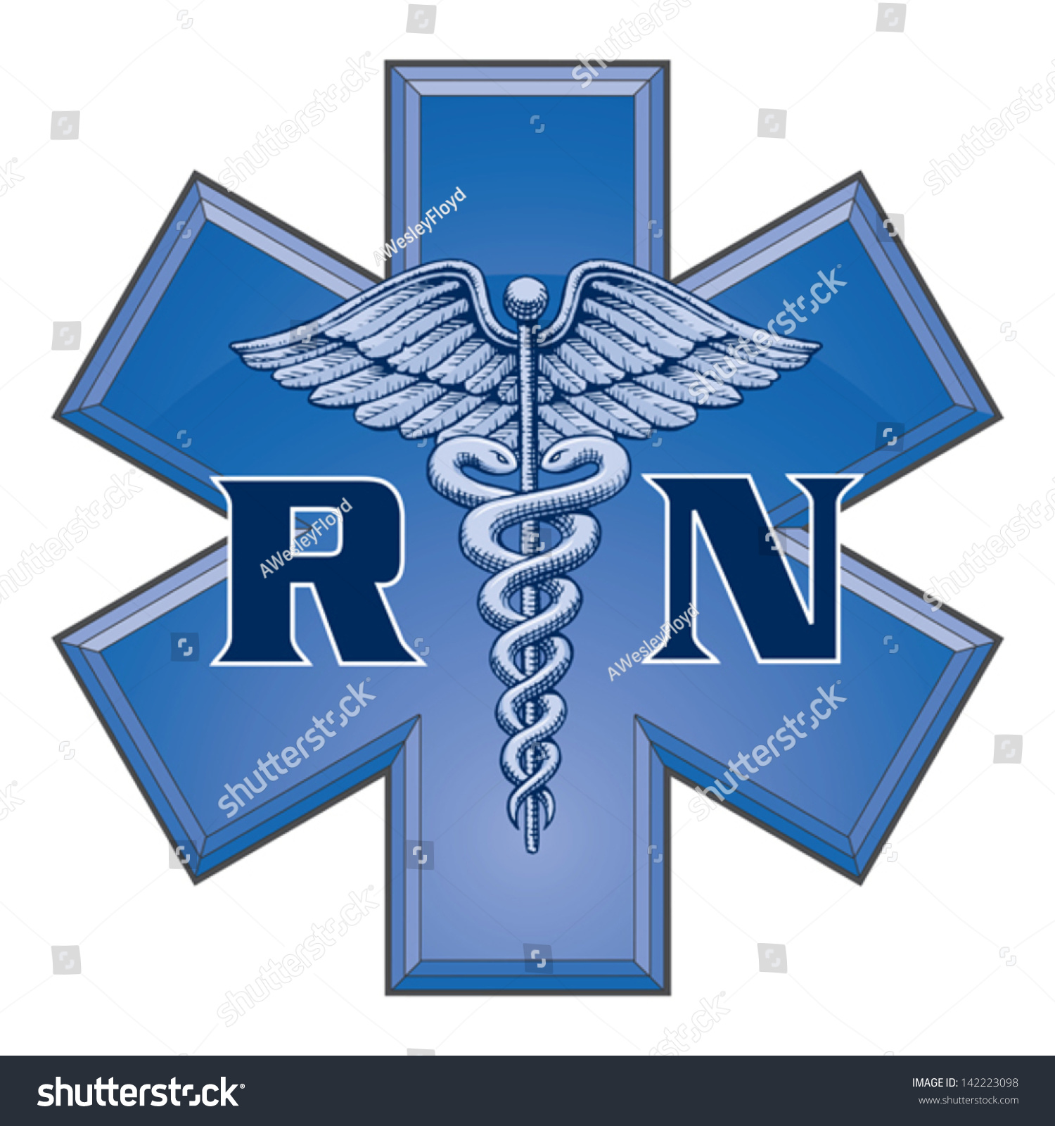 Registered Nurse Star Life Medical Symbol Stock Vector Royalty Free