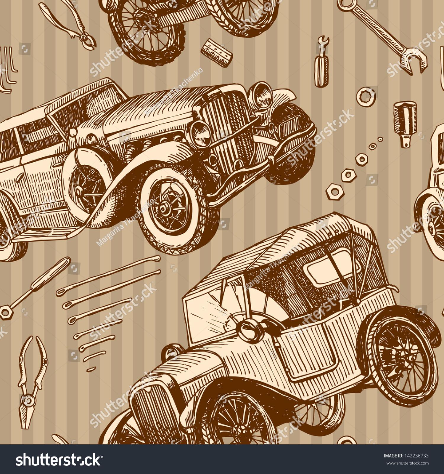 Seamless Pattern Vintage Cars Tools Repair Stock Vector HD (Royalty ...