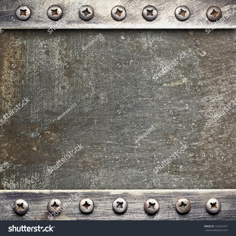 Metal Plate Texture Screws Stock Photo 142241077