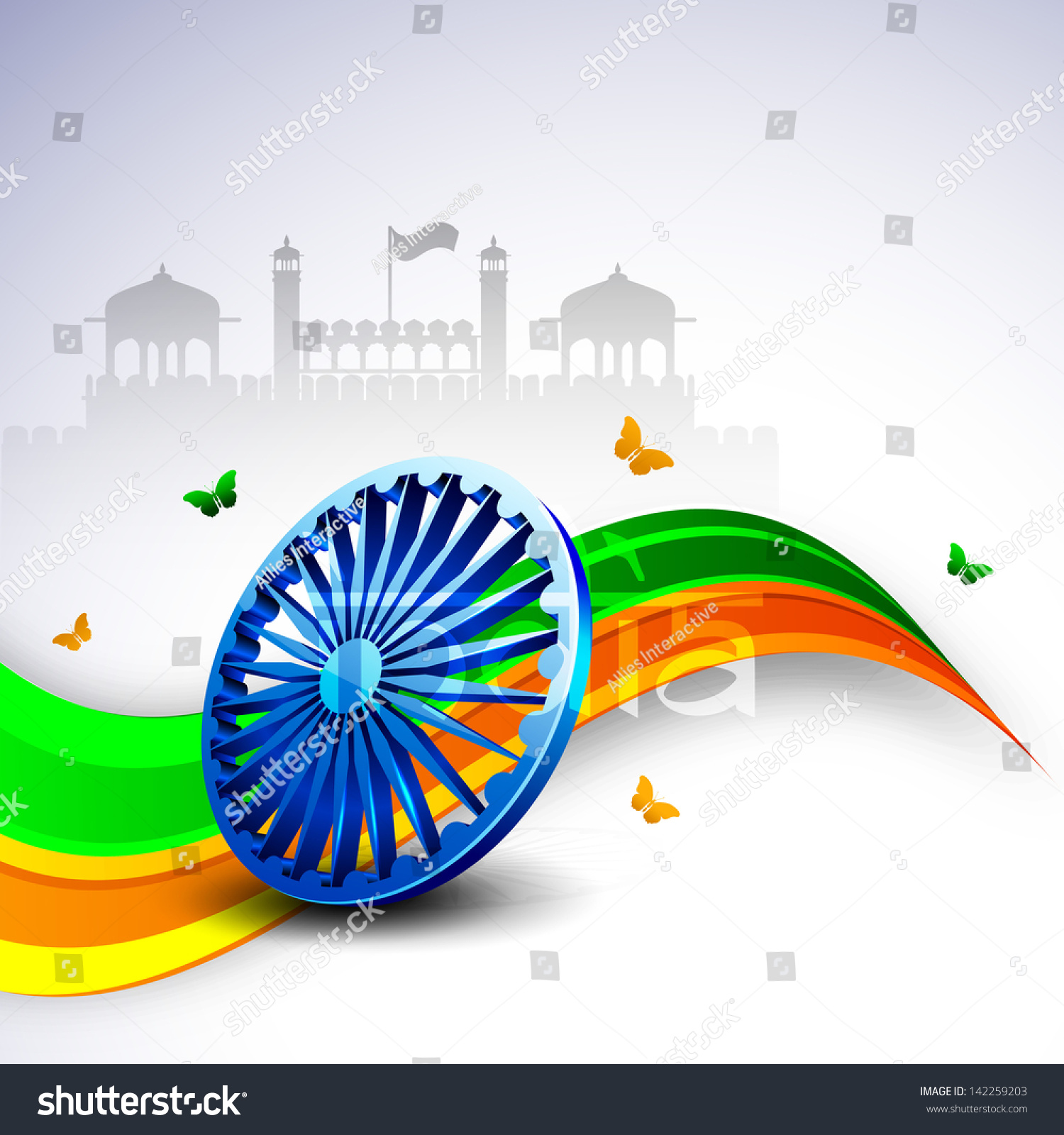 Colors website ashoka - 3d Ashoka Wheel On National Flag Colors Wave Background With Butterflies On Red Fort Background