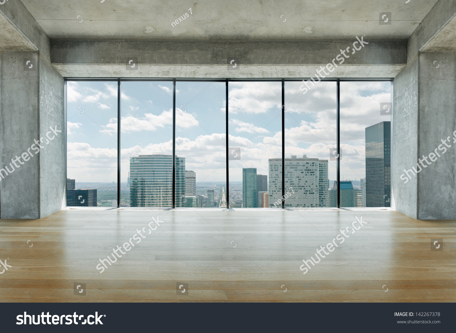 Lofty Apartment Wooden Floor Large Windows Stock Photo