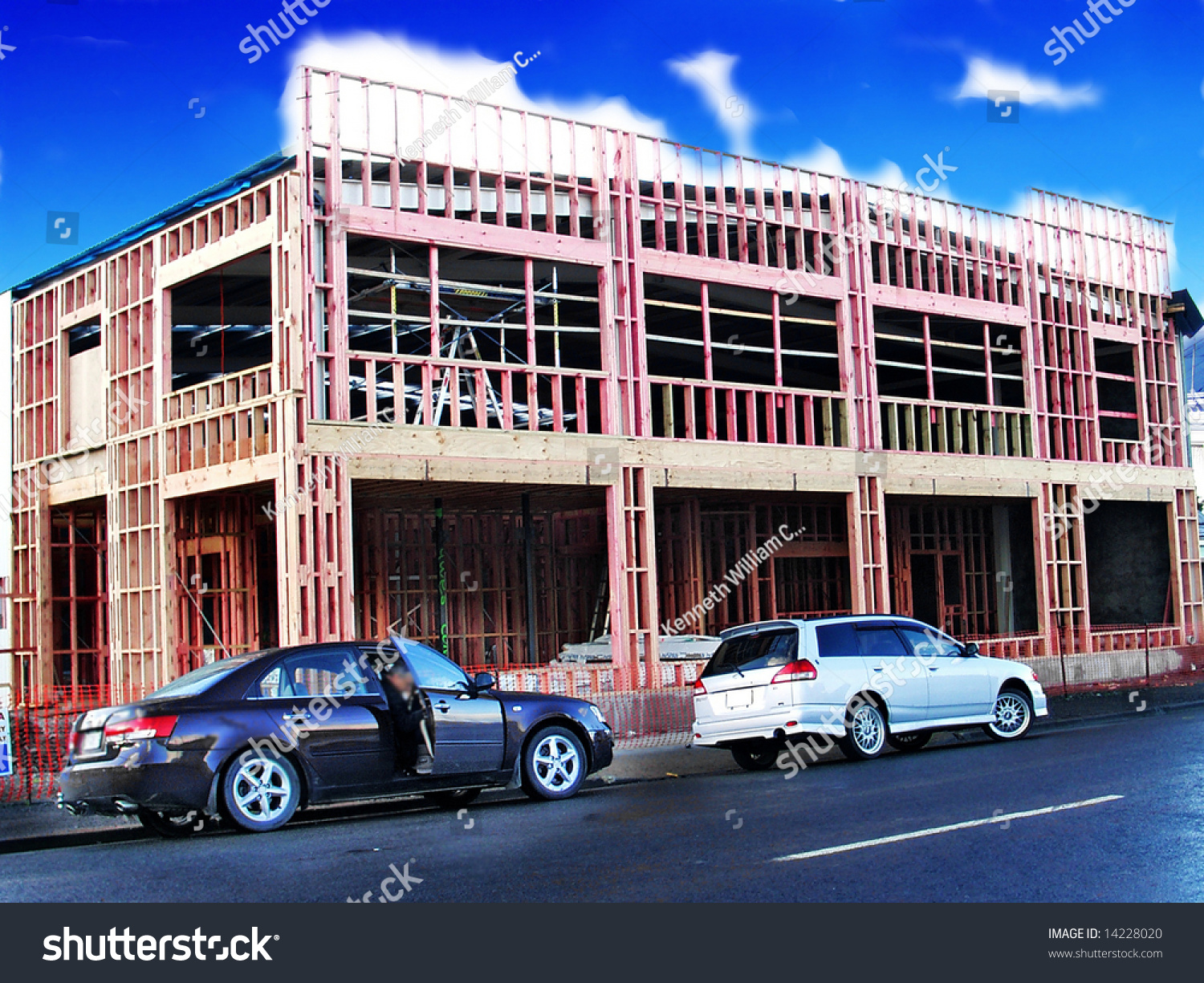 Small Building Construction : Small commercial building under construction stock photo