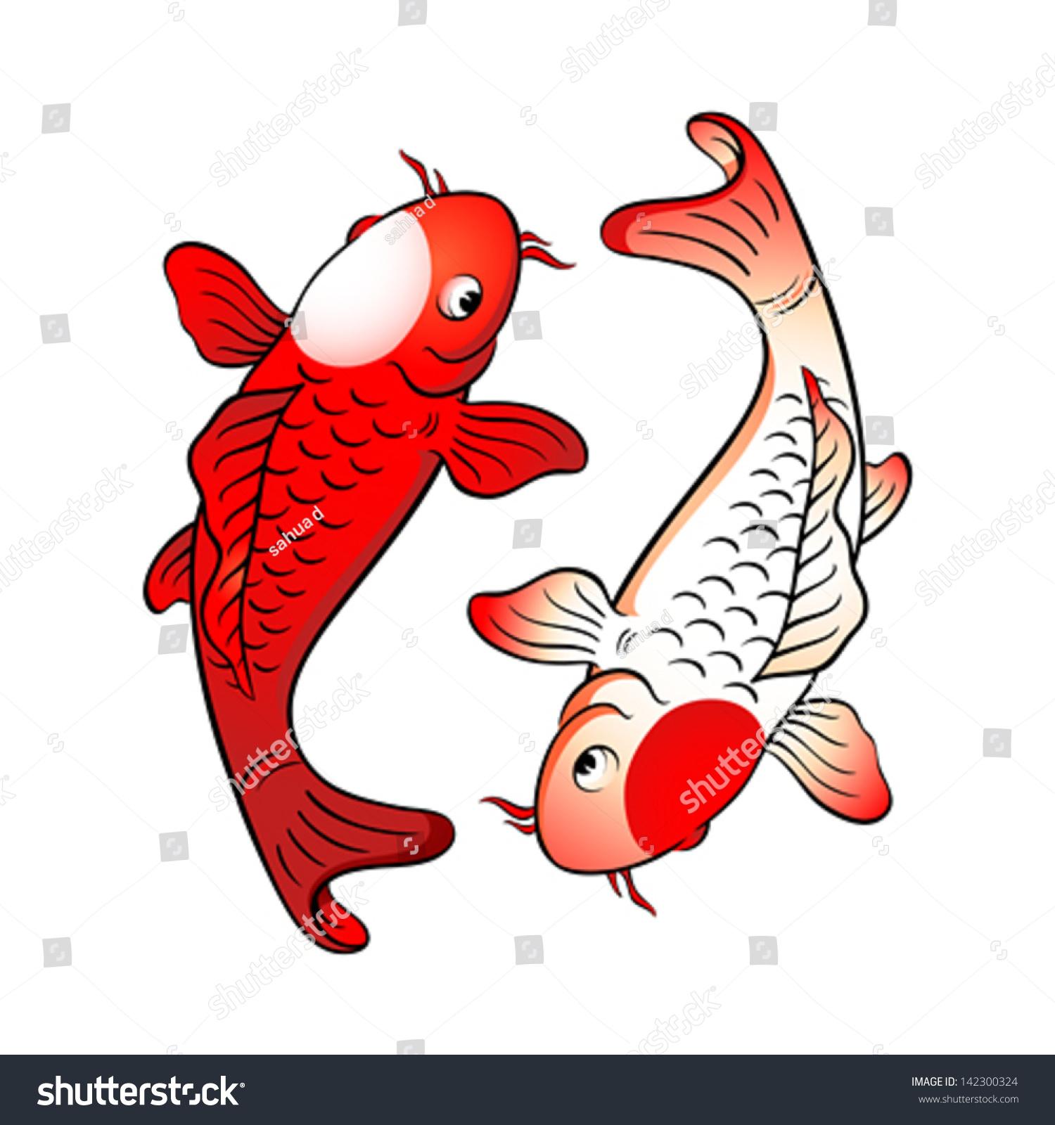 Koi fishes yin yang japanese flag stock vector 142300324 for Japanese fish flag
