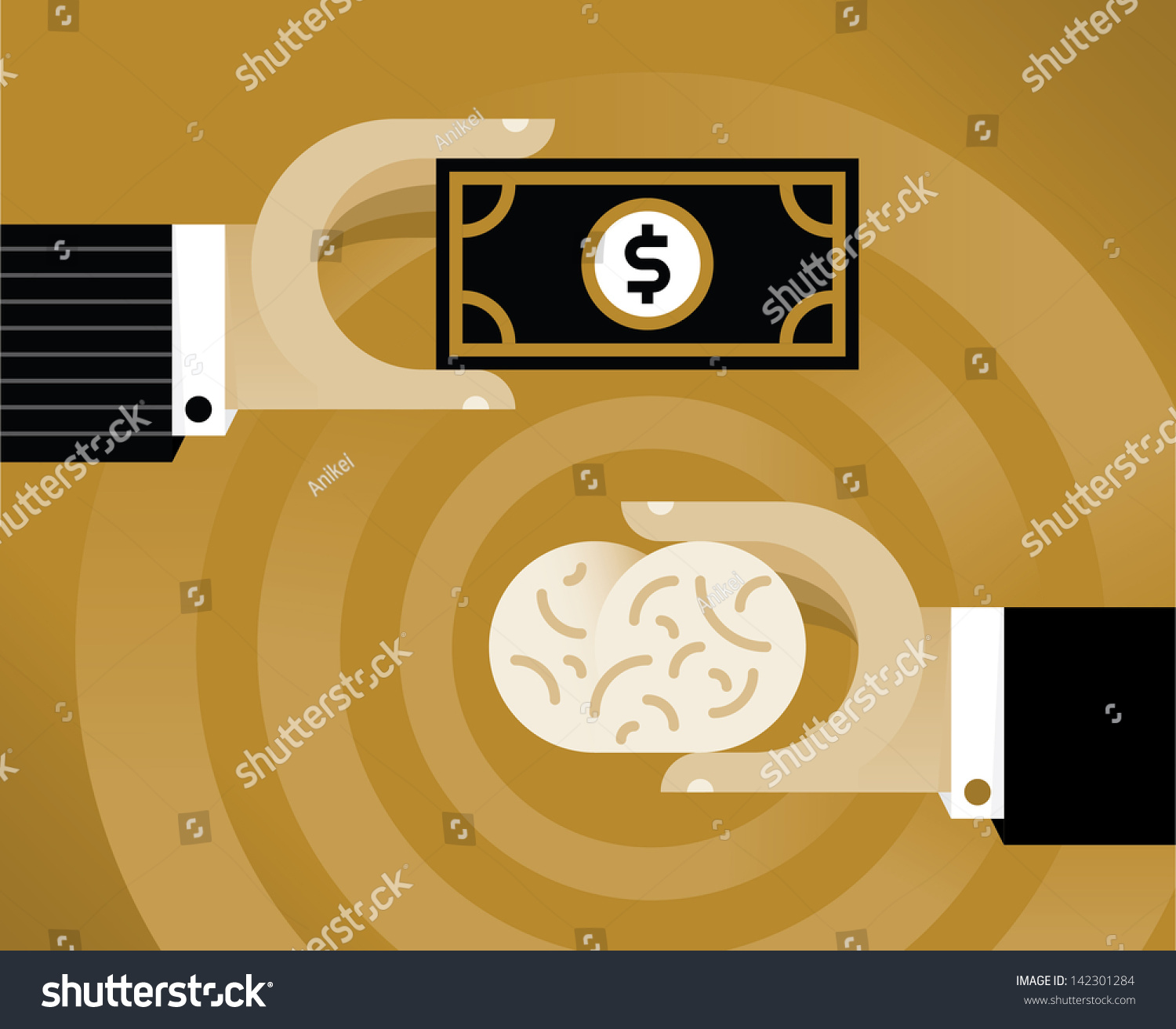 Census Worker Cover Letter Stock Vector Businessman Hand With Money Buying  Human Brain Vector Illustration With