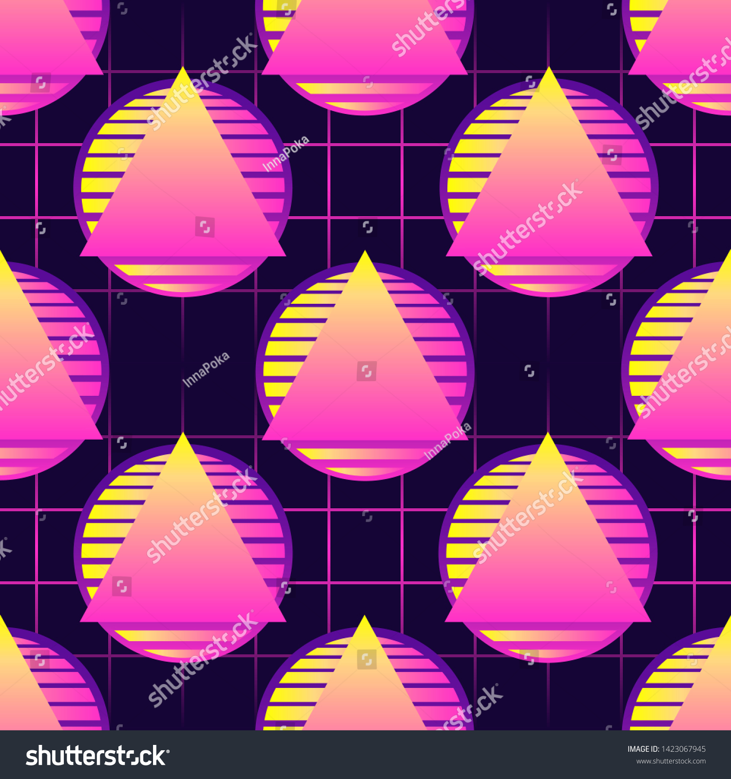 stock vector seamless pattern with neon triangles on spheres futuristic digital vector wallpaper vaporwave 1423067945
