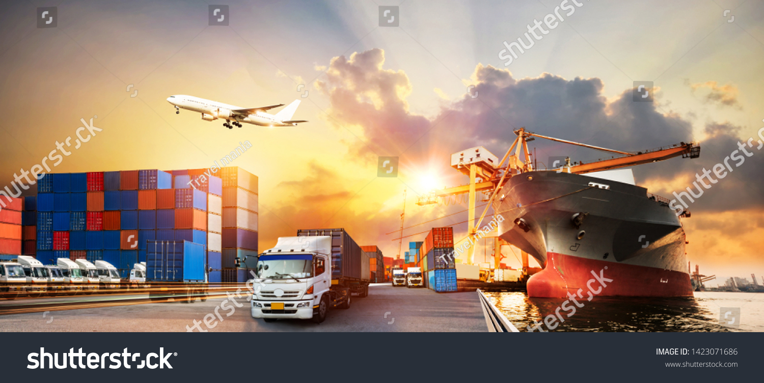 Container truck in ship port for business Logistics and transportation of Container Cargo ship and Cargo plane with working crane bridge in shipyard, logistic import export and transport industry #1423071686