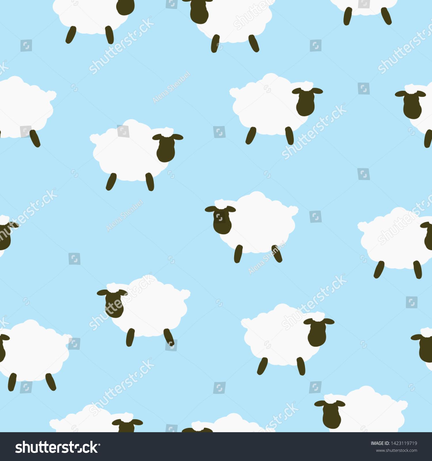 シンプルな羊の柄 青の背景にかわいい羊 この印刷は 織物 壁紙