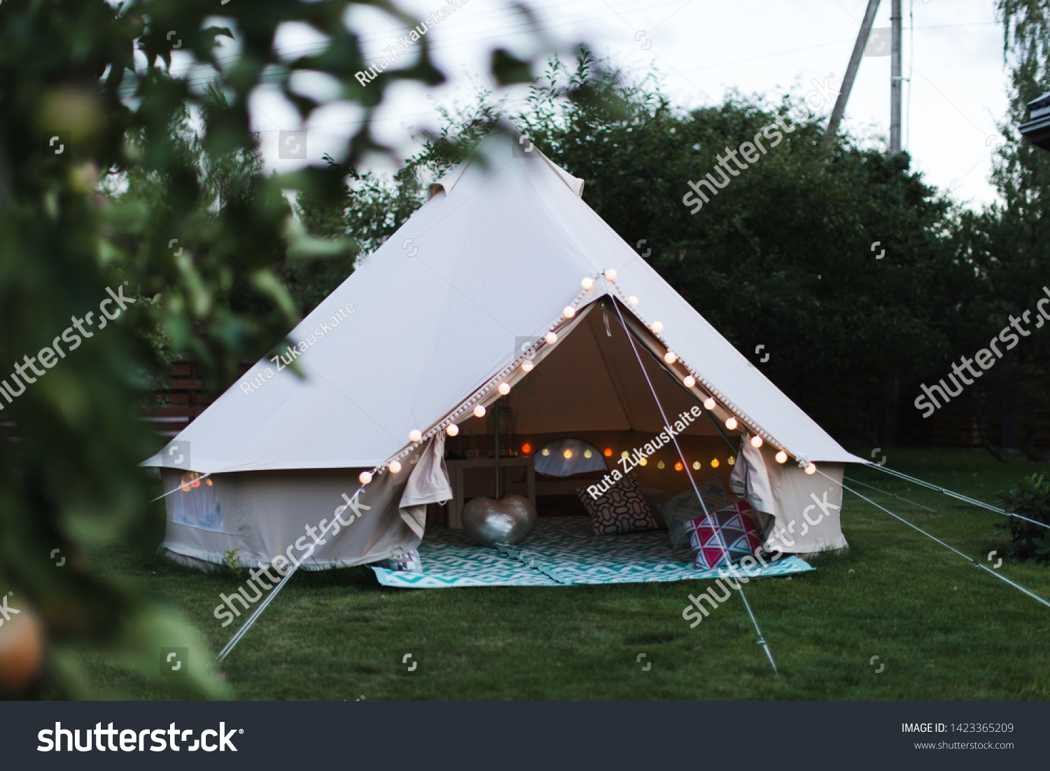 Canvas Cotton Bell Tent Yard Decorated Stock Photo Edit Now