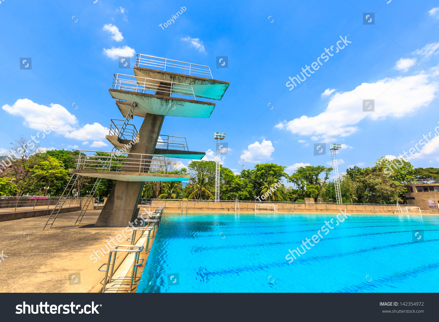 High Diving Board Public Swimming Pool Stock Photo Edit Now 142354972