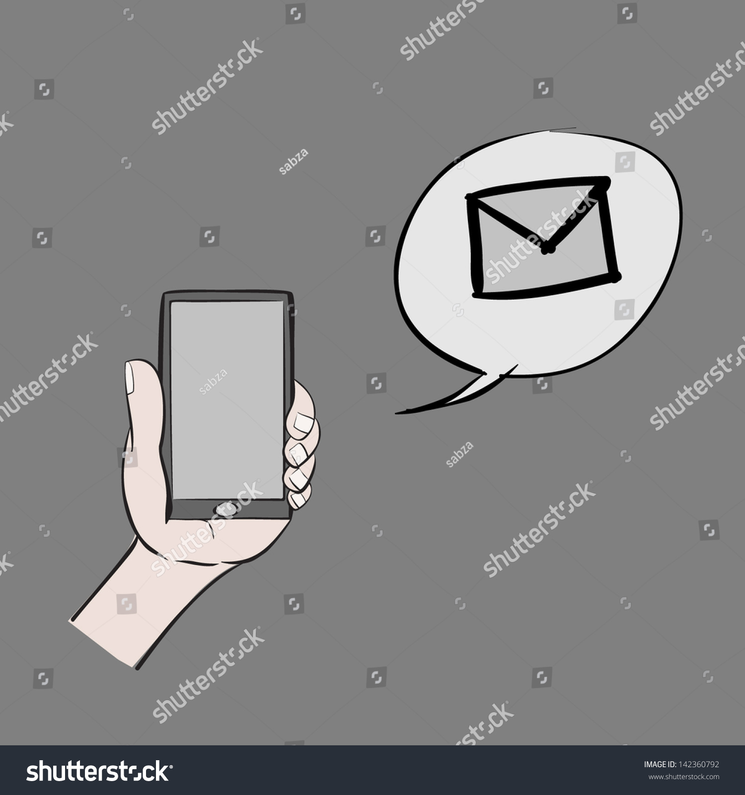 cartoon hand holding mobilephone and message alert