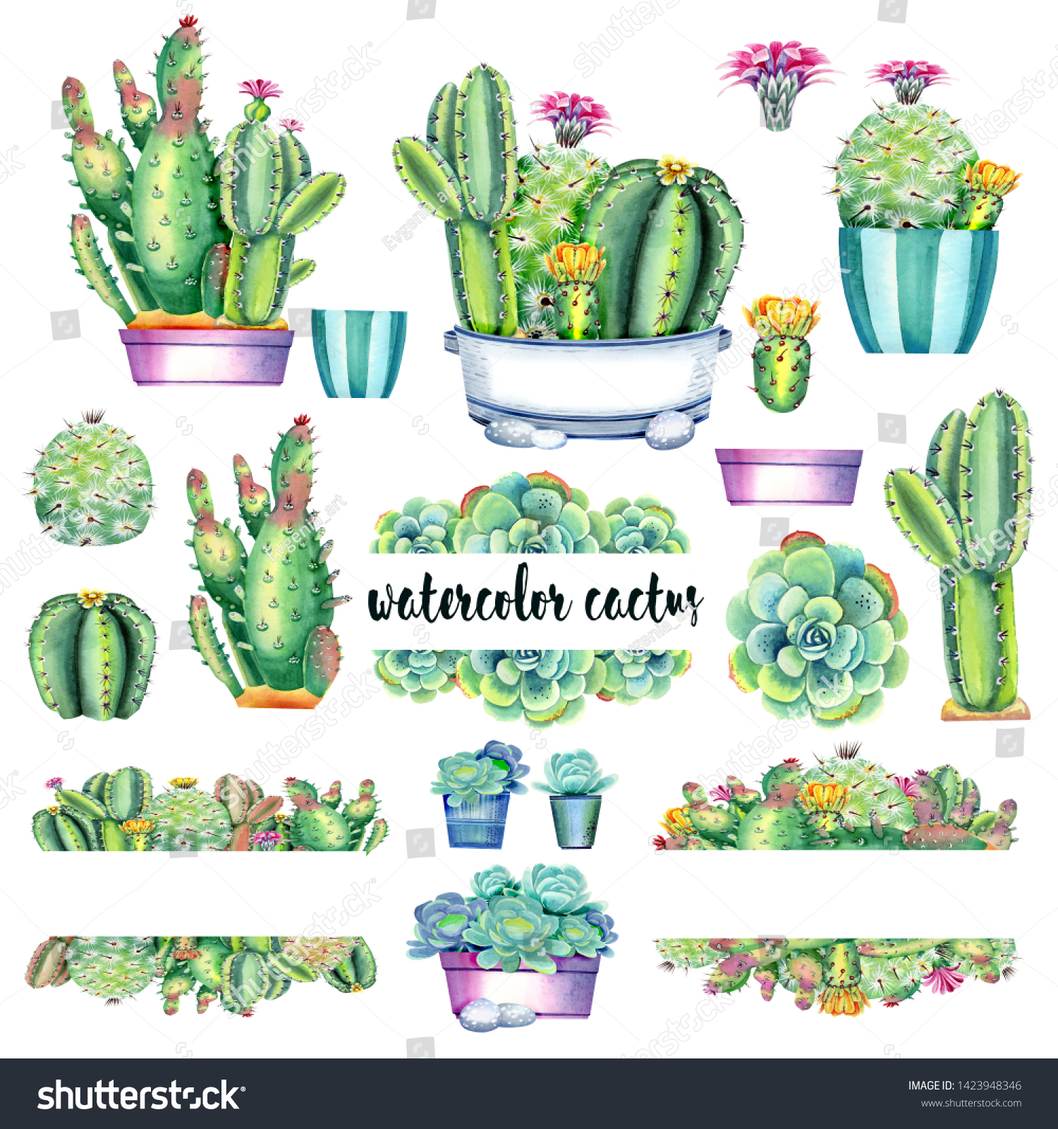 Clip Art Floral Frame Cactus Succulents Stock Illustration 1423948346