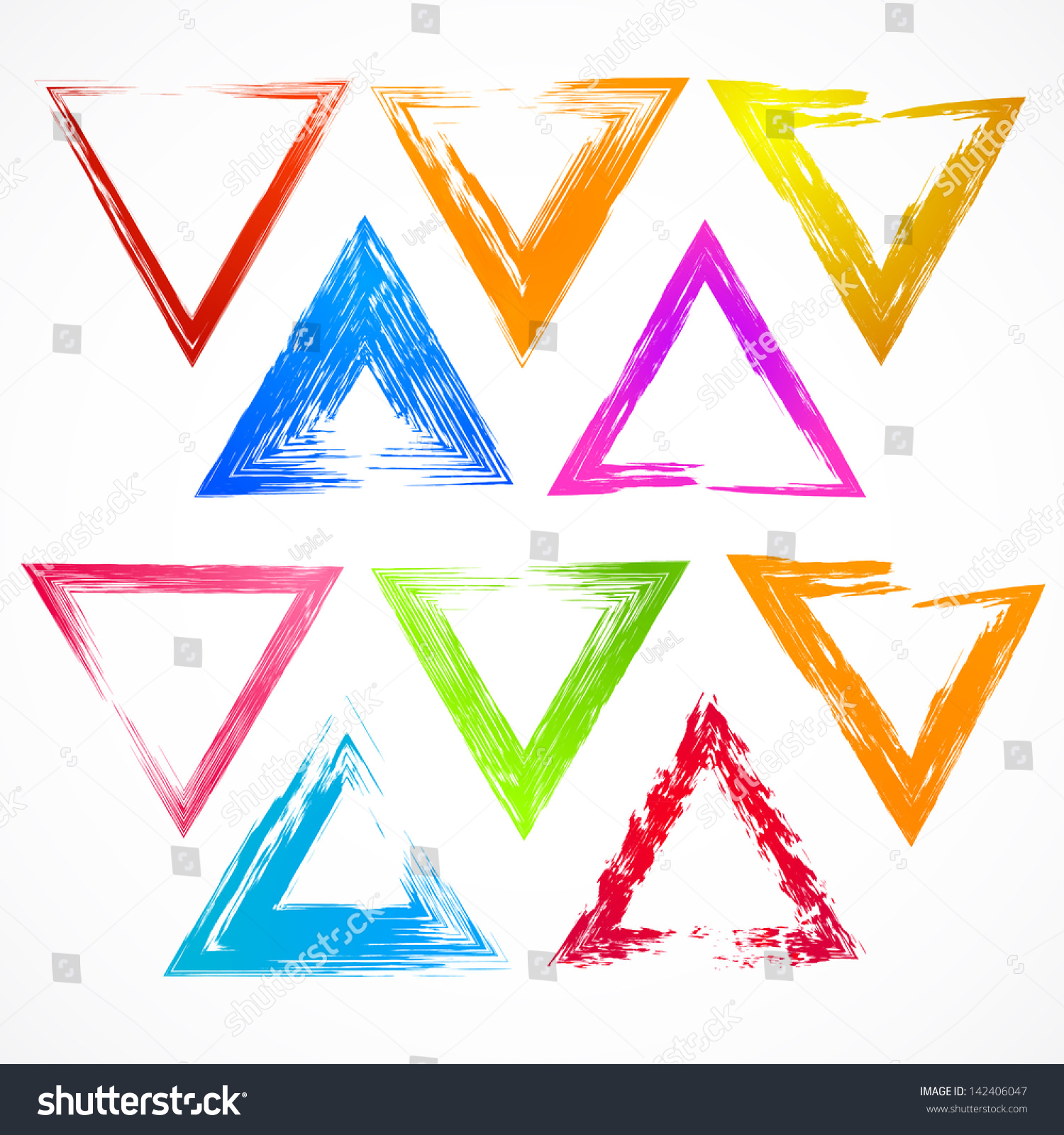 Vector Set Colorful Grunge Triangle Brush Stock Vector 142406047 ...