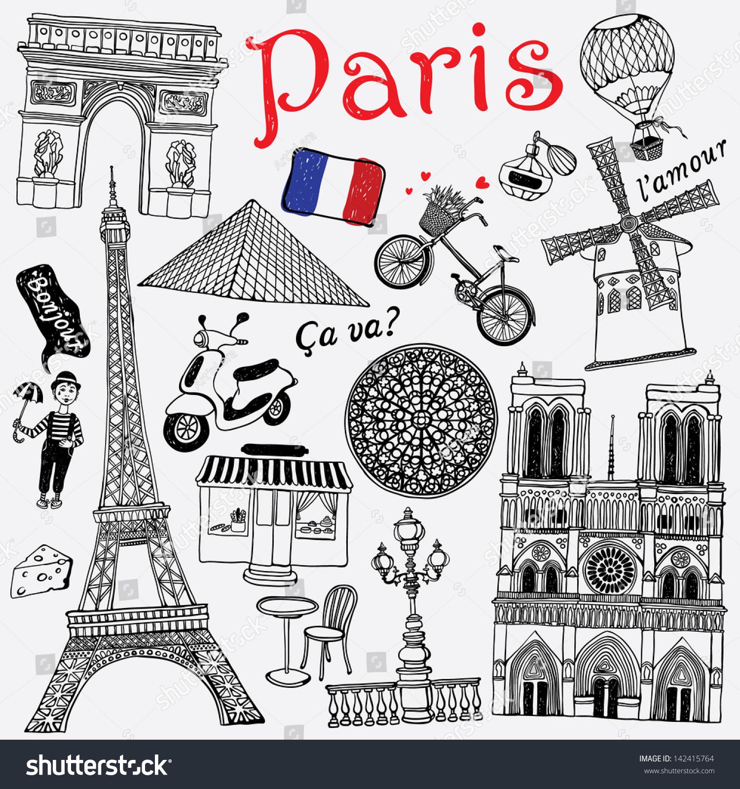 Paris Illustration: Paris Illustration Stock Vector 142415764